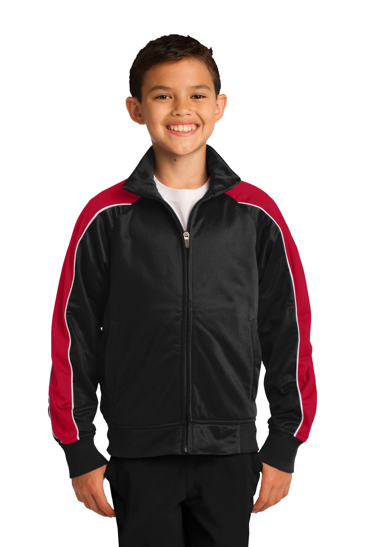 DISCONTINUED Sport-Tek Youth Piped Tricot Track Jacket. YST92