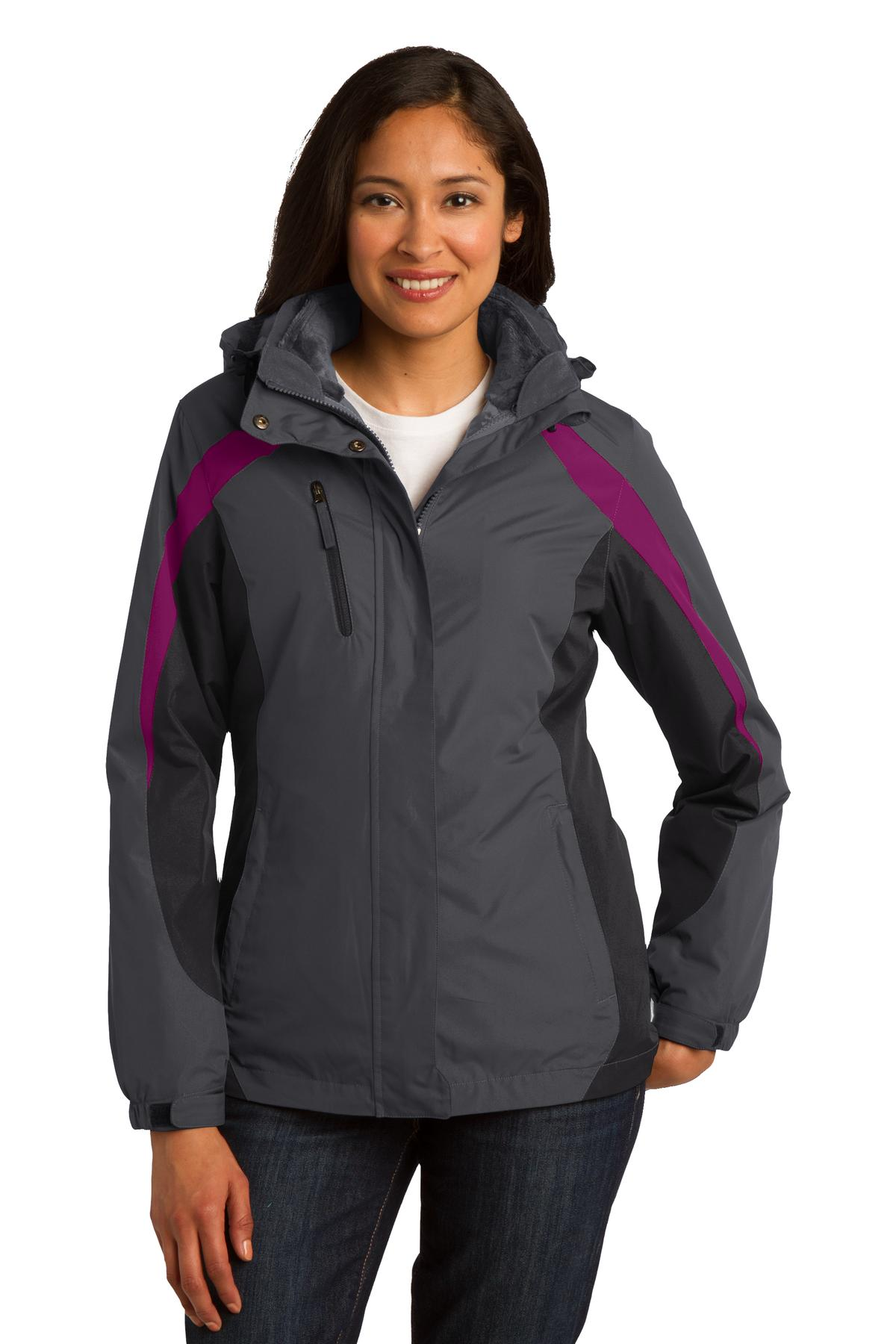 Port Authority ®  Ladies Colorblock 3-in-1 Jacket. L321 - Magnet/ Black/ Very Berry
