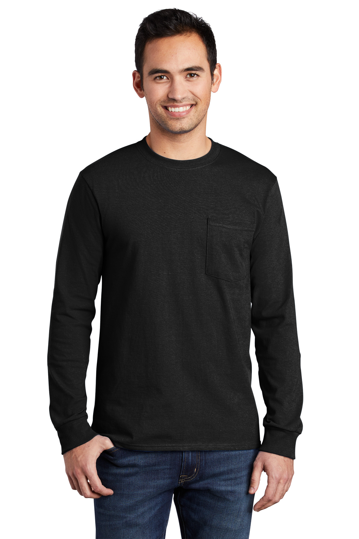 Port and Company Tall Long Sleeve Essential Pocket Tee. PC61LSPT