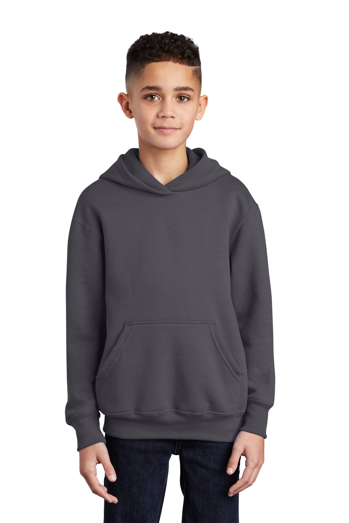 Port & Company ®  - Youth Core Fleece Pullover Hooded Sweatshirt.  PC90YH - Charcoal