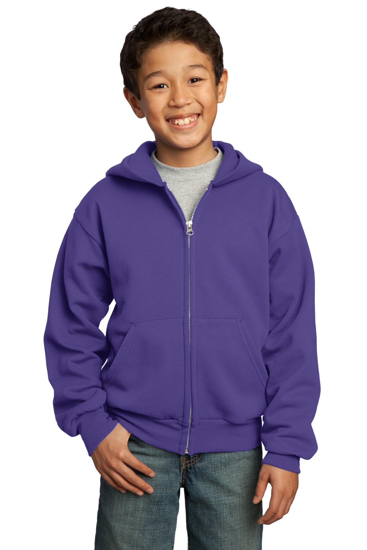 Port & Company ®  - Youth Core Fleece Full-Zip Hooded Sweatshirt.  PC90YZH - Purple