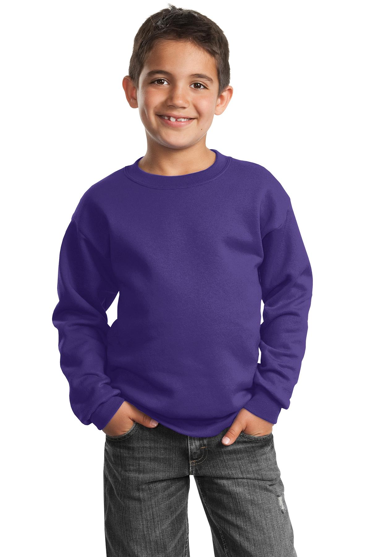 Port & Company ®  - Youth Core Fleece Crewneck Sweatshirt.  PC90Y - Purple