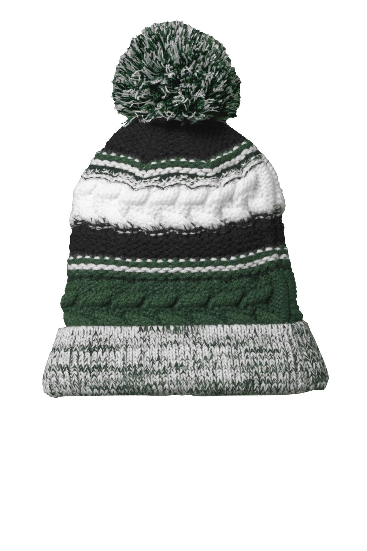 Sport-Tek ®  Pom Pom Team Beanie. STC21 - Forest Green/ Black/ White