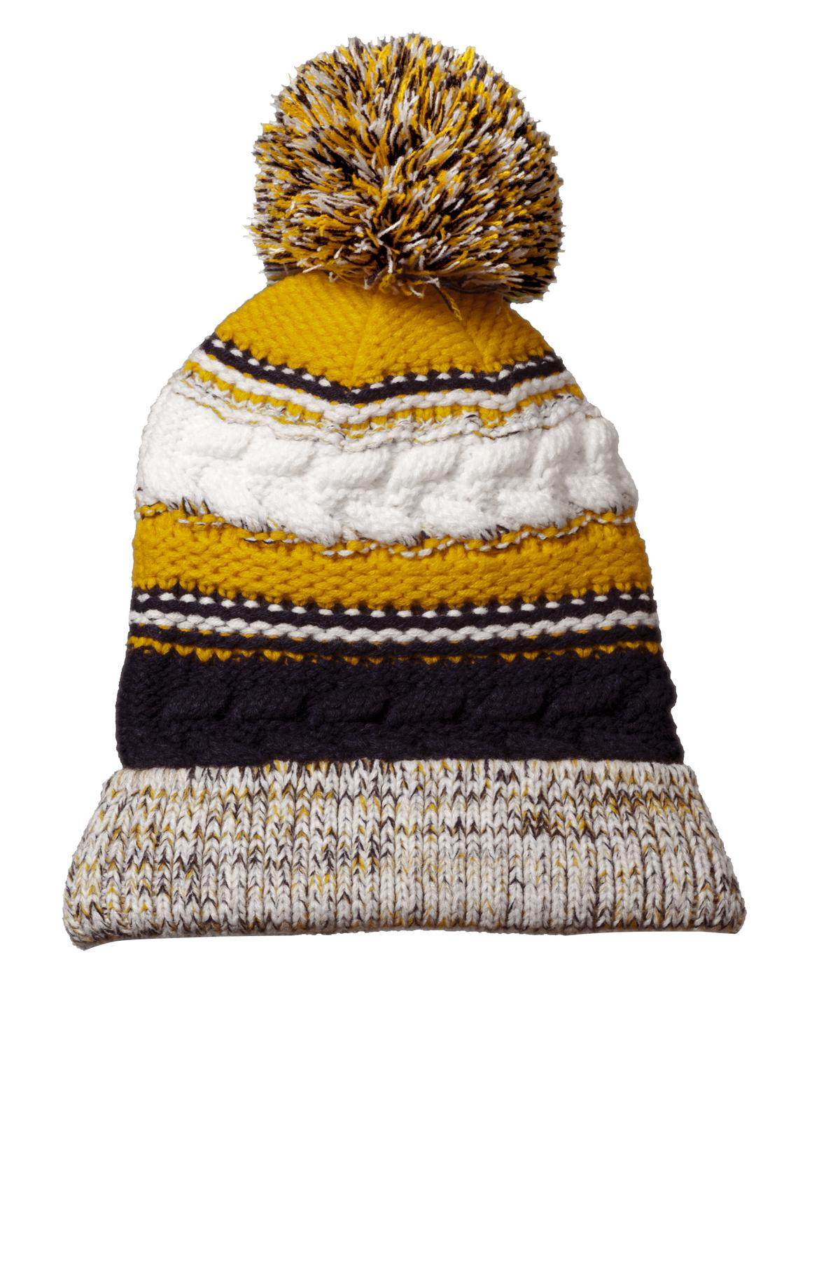 Sport-Tek ®  Pom Pom Team Beanie. STC21 - True Navy/ Gold/ White