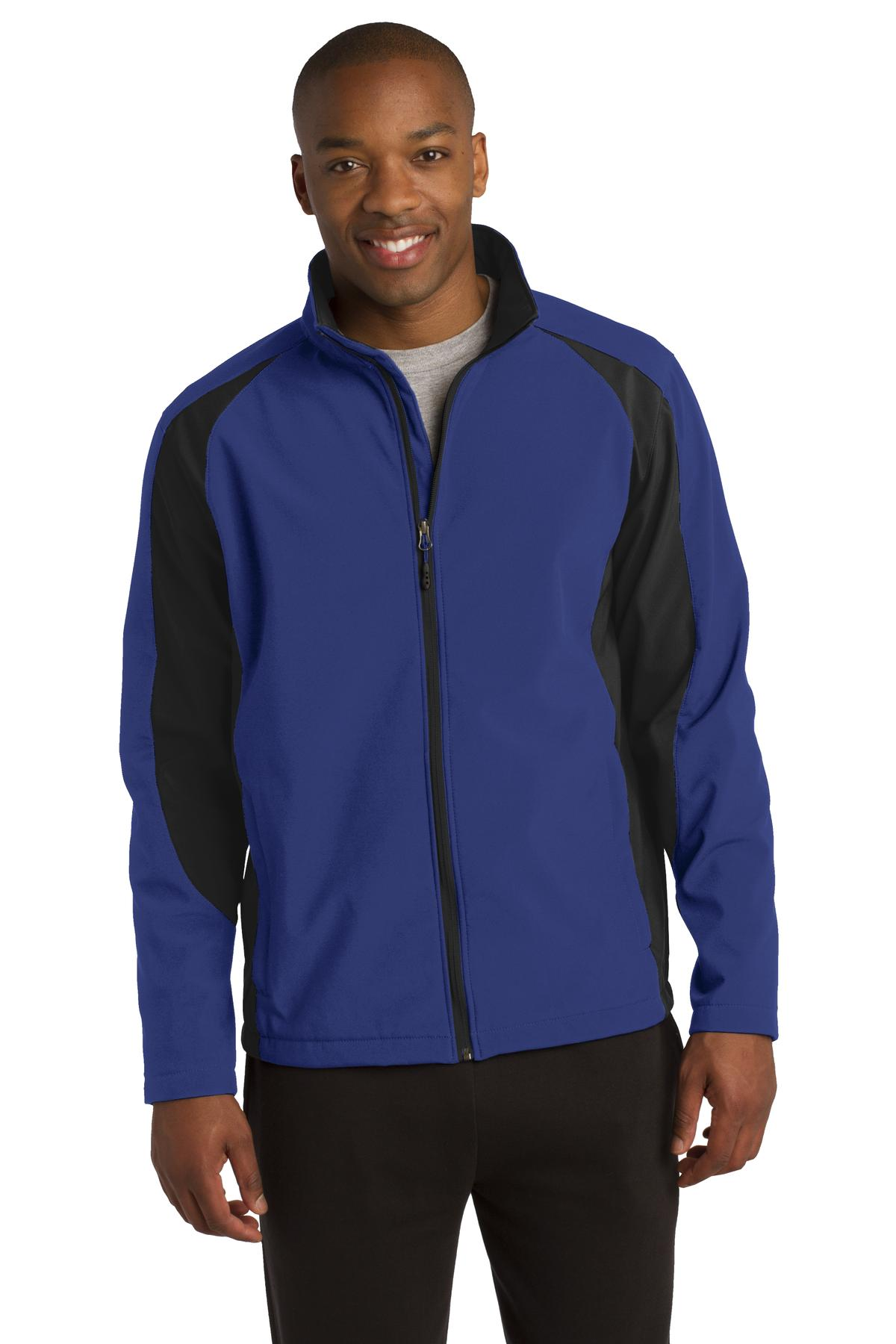 Sport-Tek ®  Colorblock Soft Shell Jacket. ST970 - True Royal/ Black