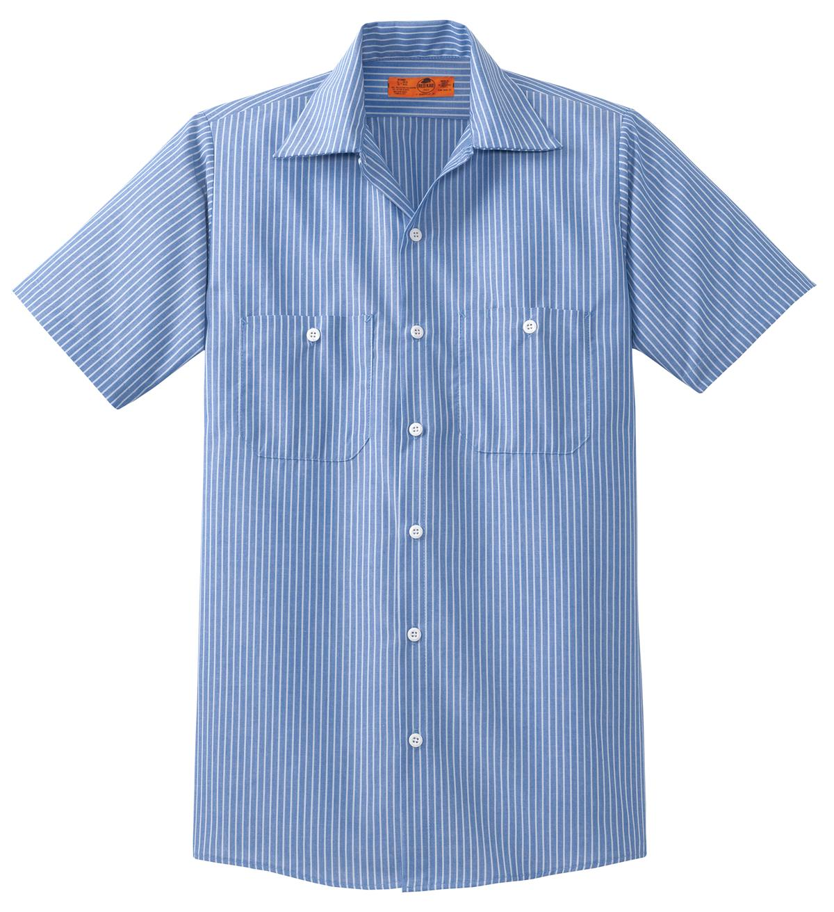 Red Kap ®  Long Size, Short Sleeve Striped Industrial Work Shirt. CS20LONG - Blue/ White