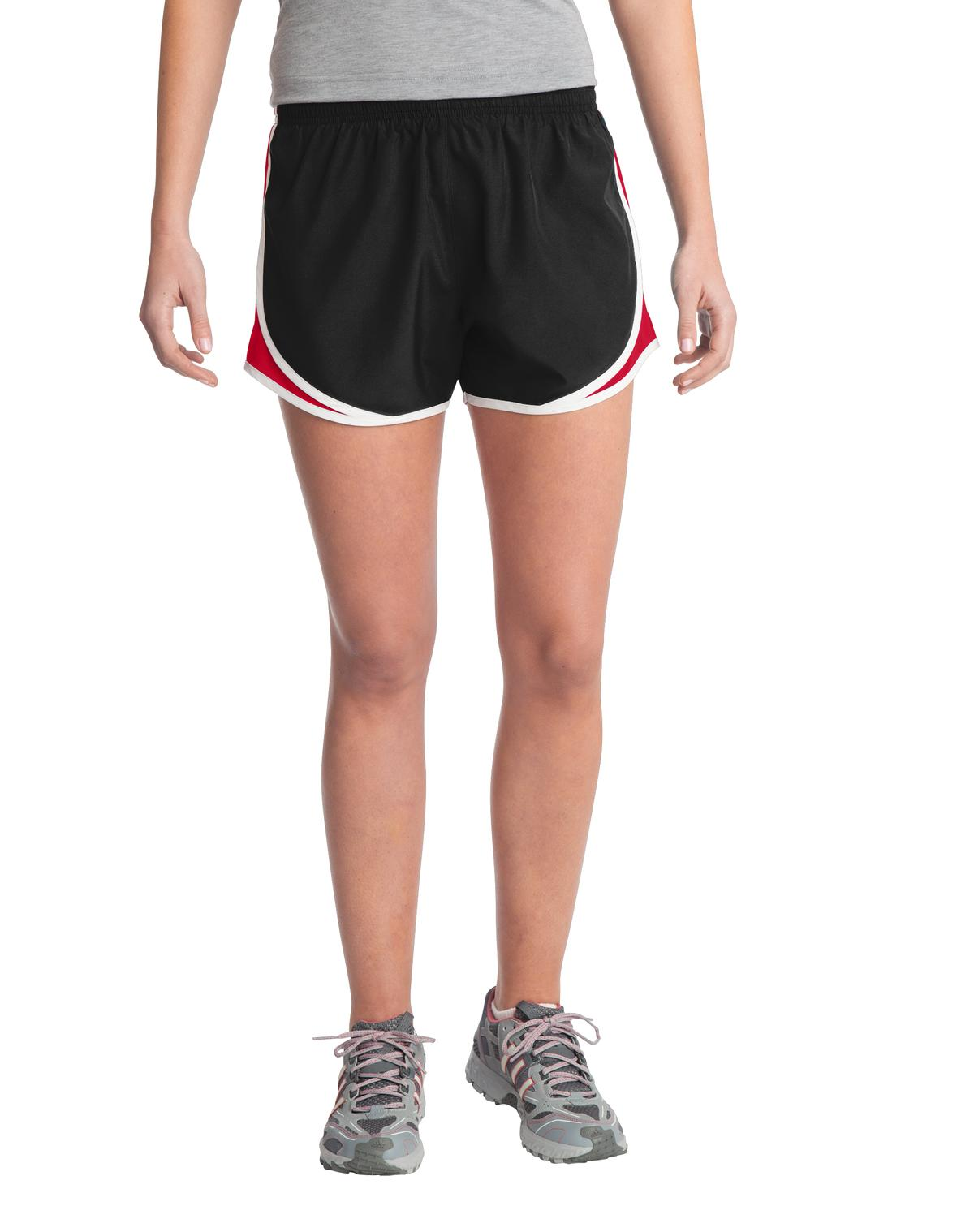 Sport-Tek ®  Ladies Cadence Short. LST304 - Black/ True Red/ White