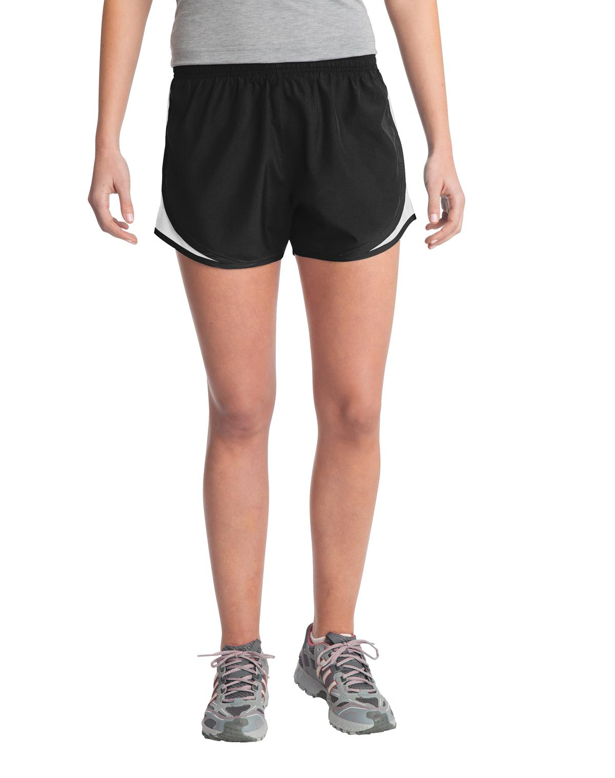 Sport-Tek ®  Ladies Cadence Short. LST304 - Black/ White/ Black