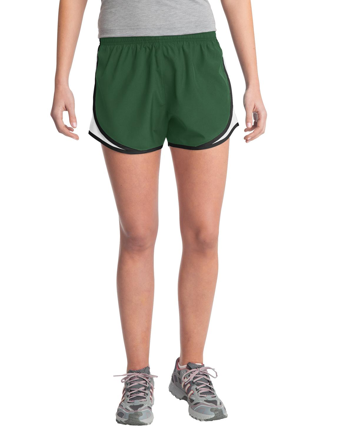 Sport-Tek ®  Ladies Cadence Short. LST304 - Forest Green/ White/ Black