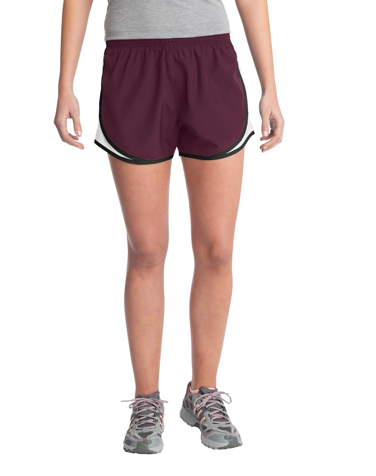 Sport-Tek ®  Ladies Cadence Short. LST304 - Maroon/ White/ Black