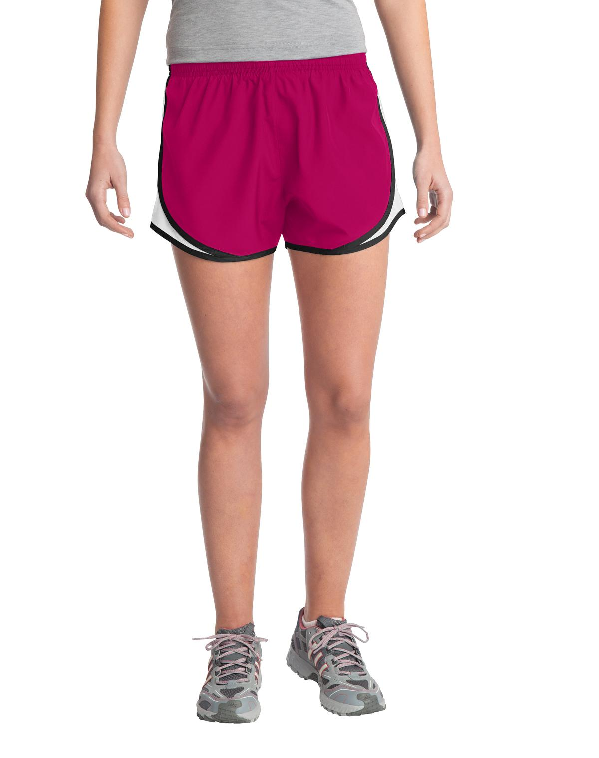 Sport-Tek ®  Ladies Cadence Short. LST304 - Pink Raspberry/ White/ Black