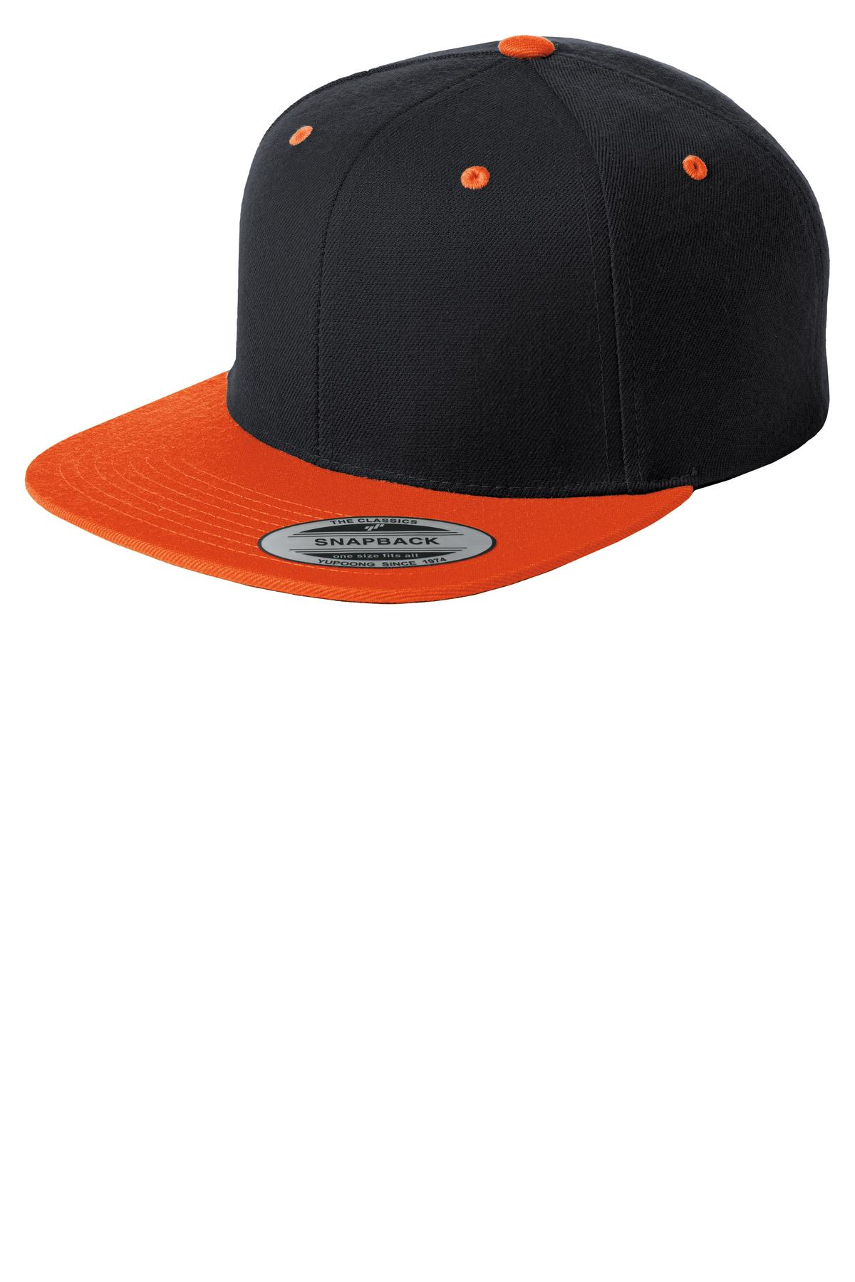 Sport-Tek ®  Yupoong ®  Flat Bill Snapback Cap. STC19 - Black/ Deep Orange