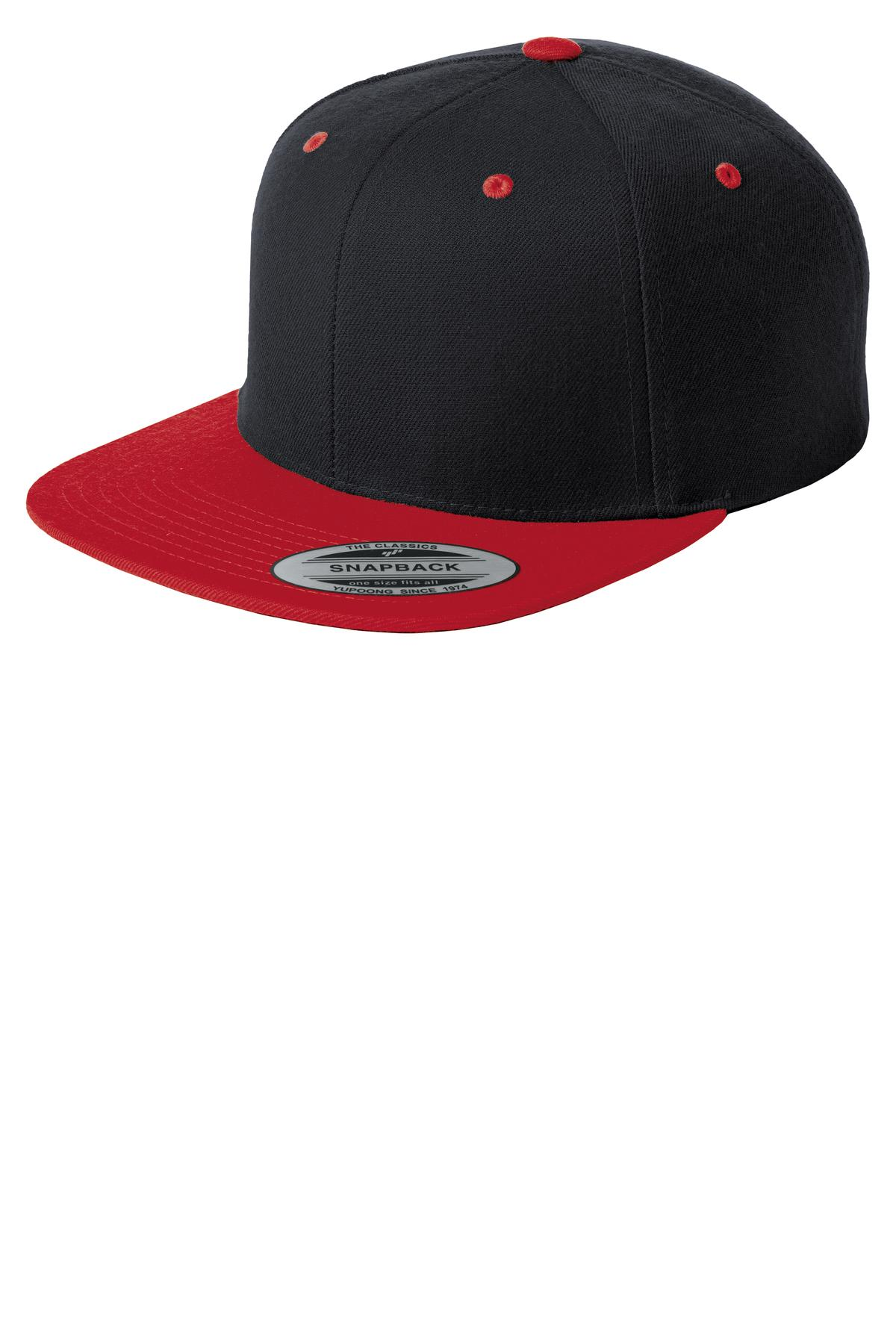 Sport-Tek ®  Yupoong ®  Flat Bill Snapback Cap. STC19 - Black/ True Red