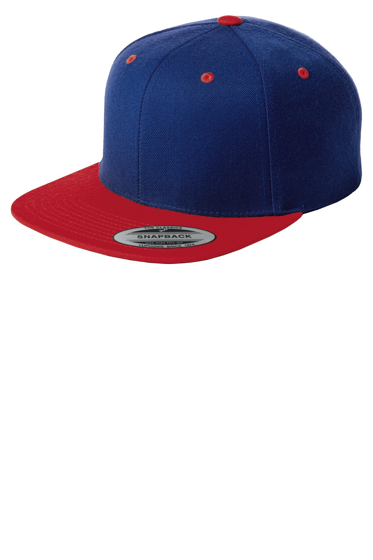 Sport-Tek ®  Yupoong ®  Flat Bill Snapback Cap. STC19 - True Royal/ True Red