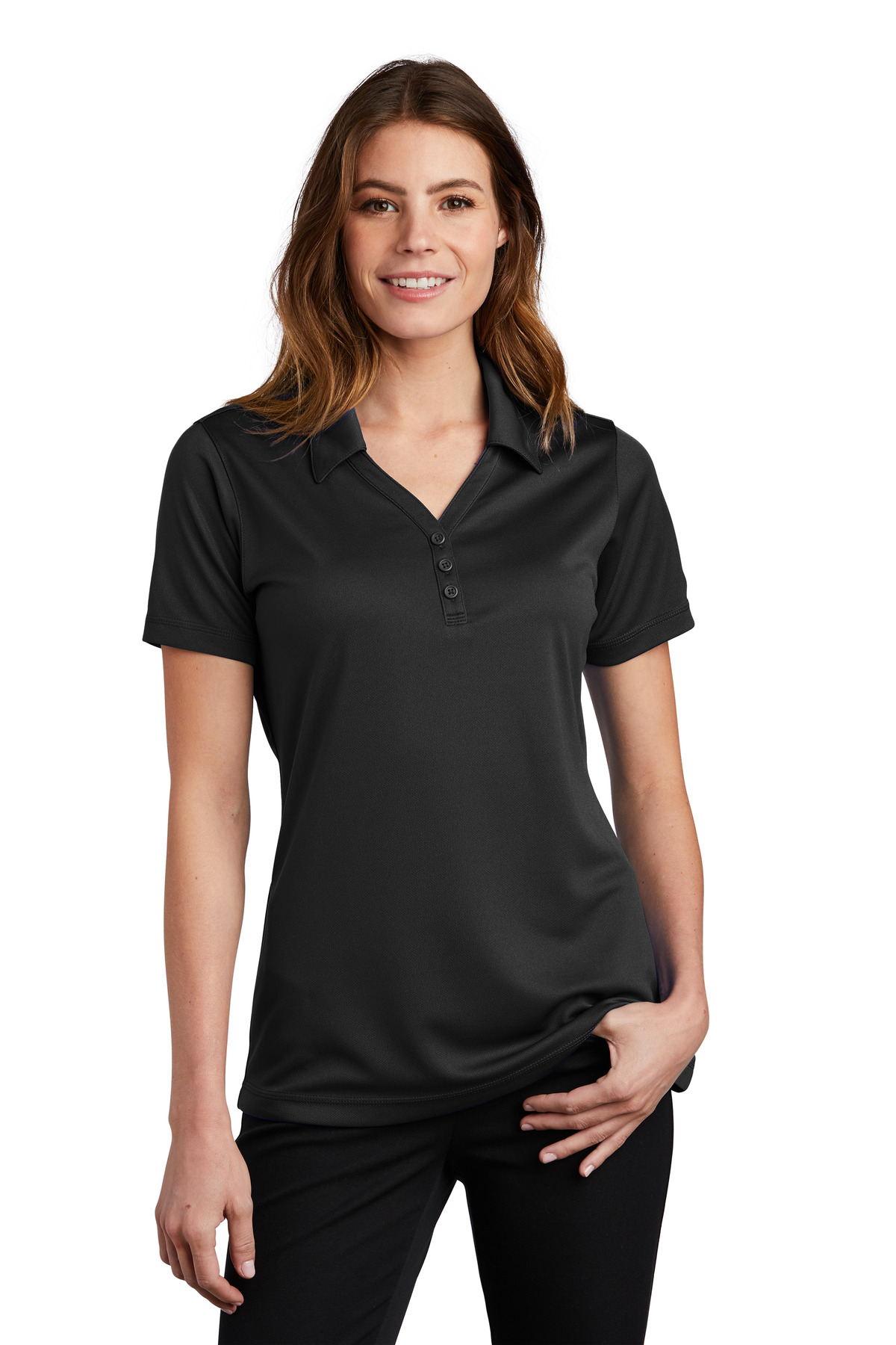 Sport-Tek ®  Ladies PosiCharge ®  Micro-Mesh Polo. LST680 - Black