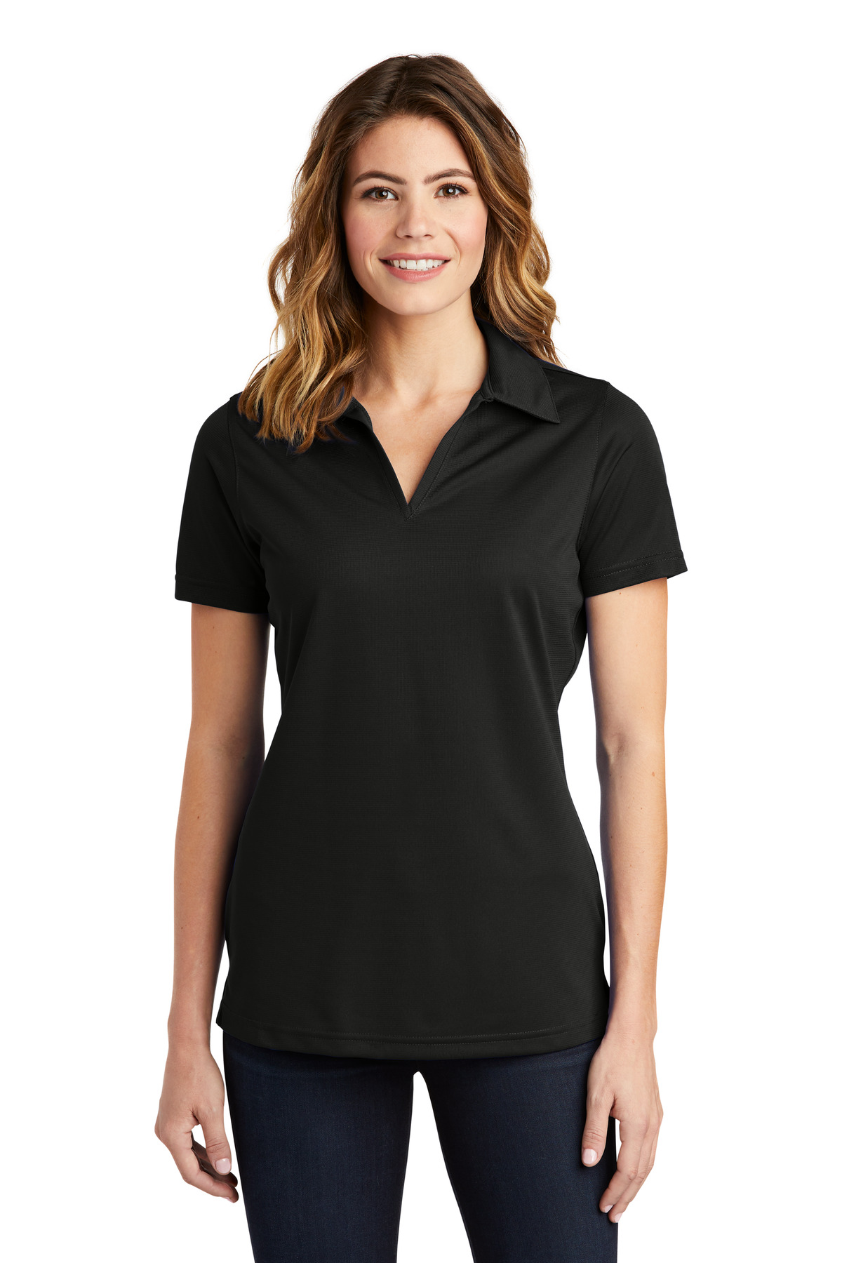 Sport-Tek ®  Ladies PosiCharge ®  Active Textured Polo. LST690 - Black
