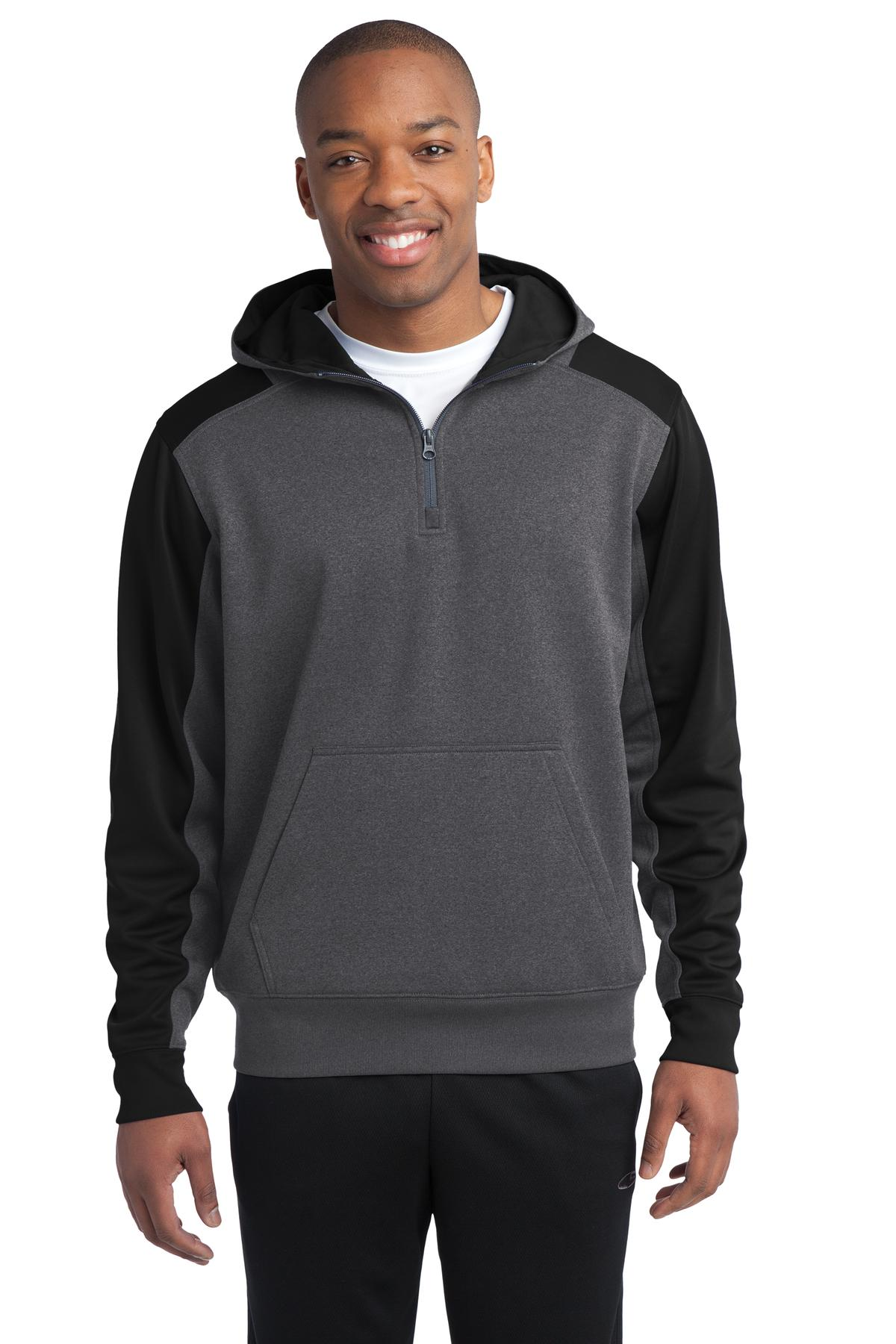 Sport-Tek ®   Tech Fleece Colorblock 1/4-Zip Hooded Sweatshirt. ST249 - Graphite Heather/ Black