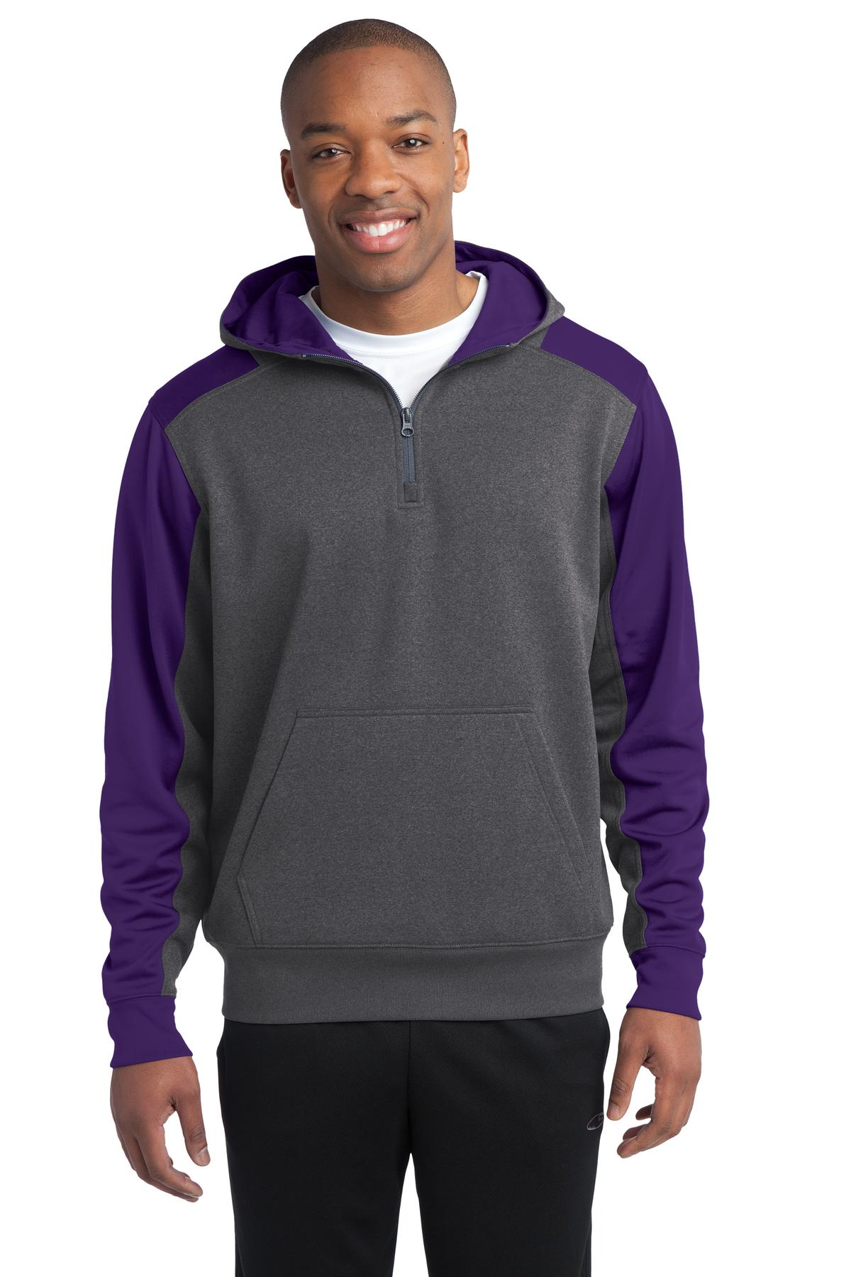 Sport-Tek ®   Tech Fleece Colorblock 1/4-Zip Hooded Sweatshirt. ST249 - Graphite Heather/ Purple