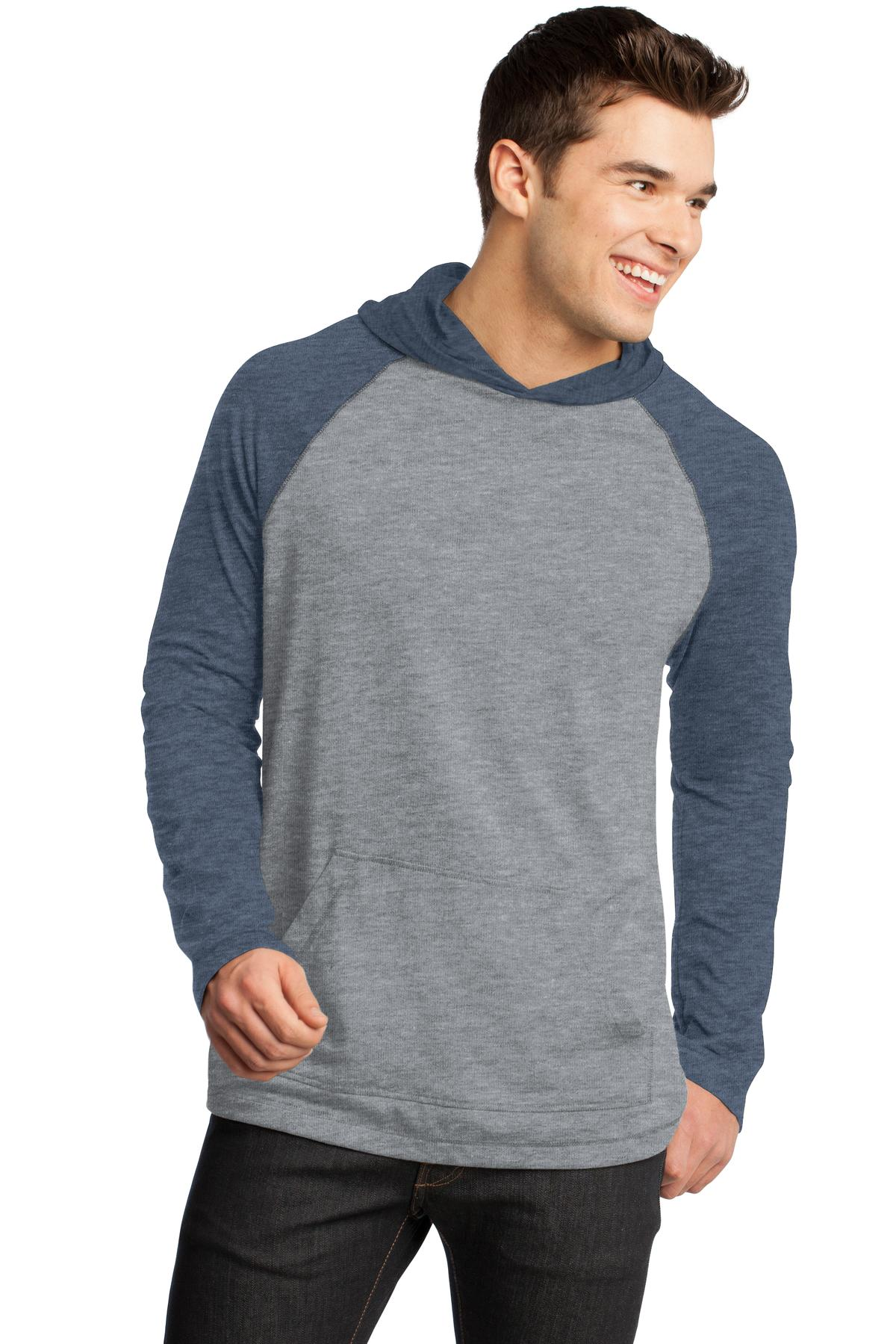 DISCONTINUED District - Young Mens 50/50 Raglan Hoodie. DT128