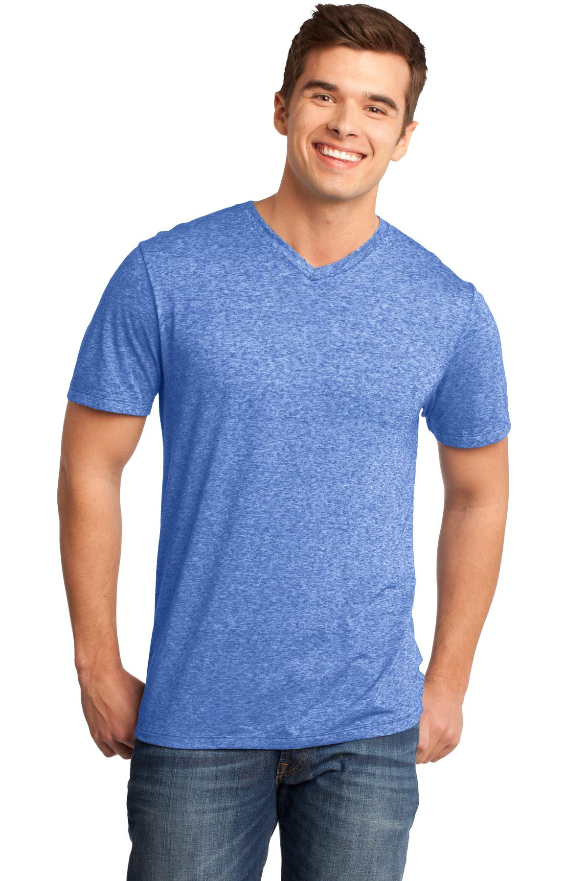 CLOSEOUT District - Young Mens Microburn V-Neck Tee. DT161