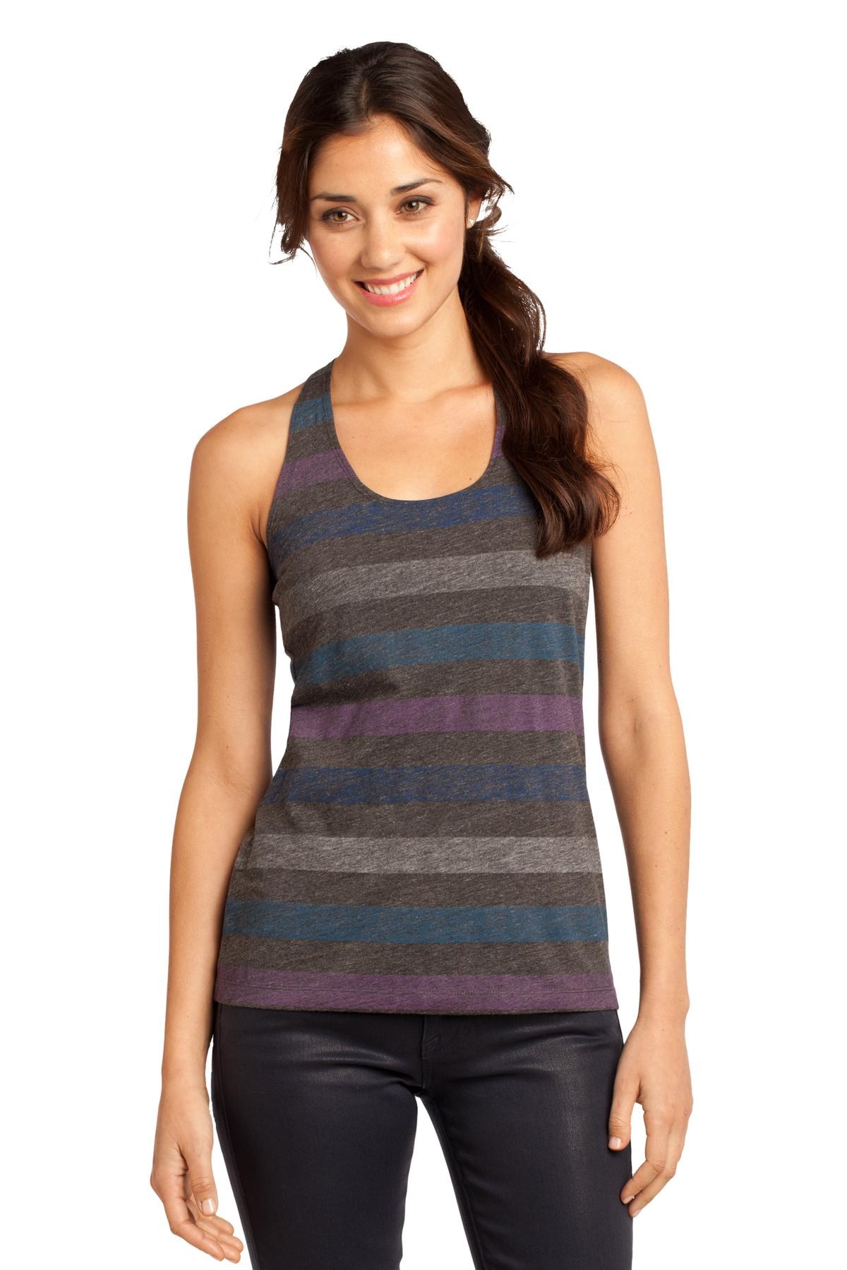 CLOSEOUT District - Juniors Reverse Striped Scrunched Back Tank. DT229
