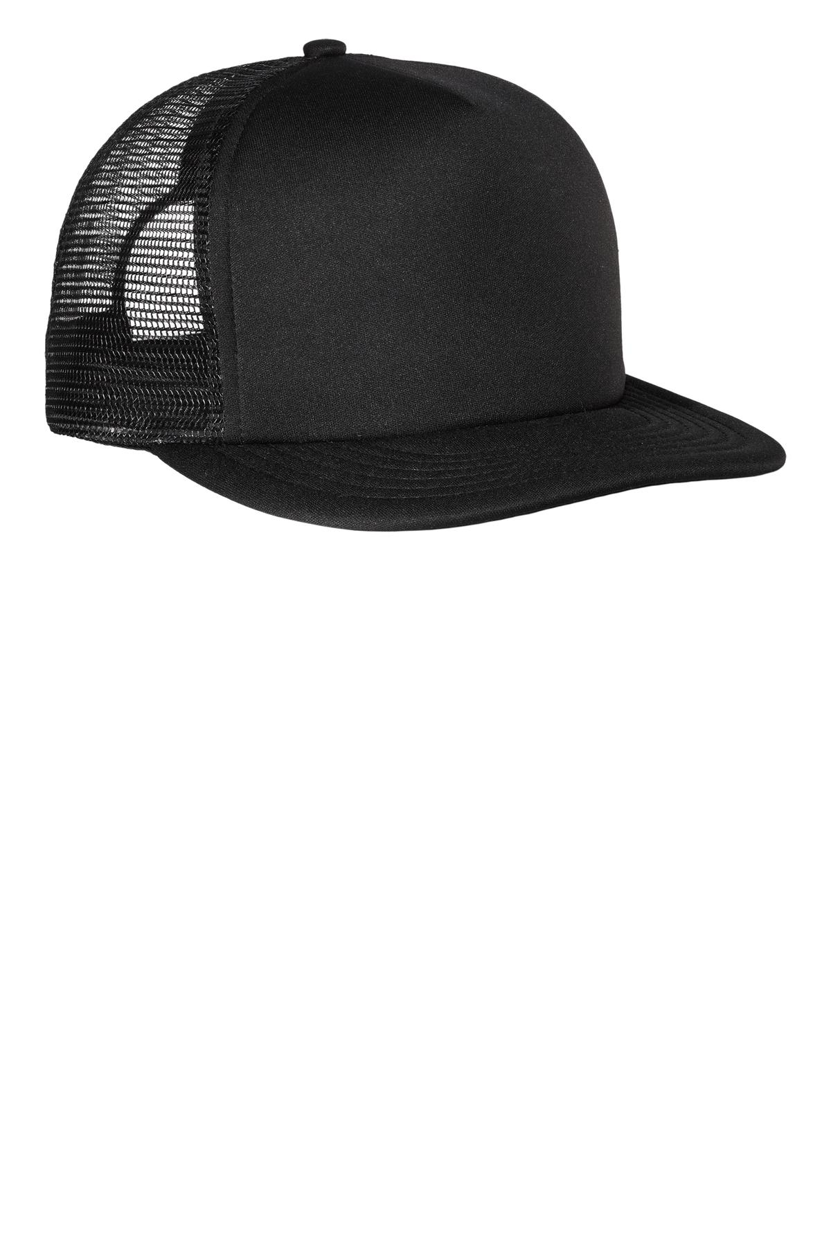 District ®  Flat Bill Snapback Trucker Cap. DT624 - Black