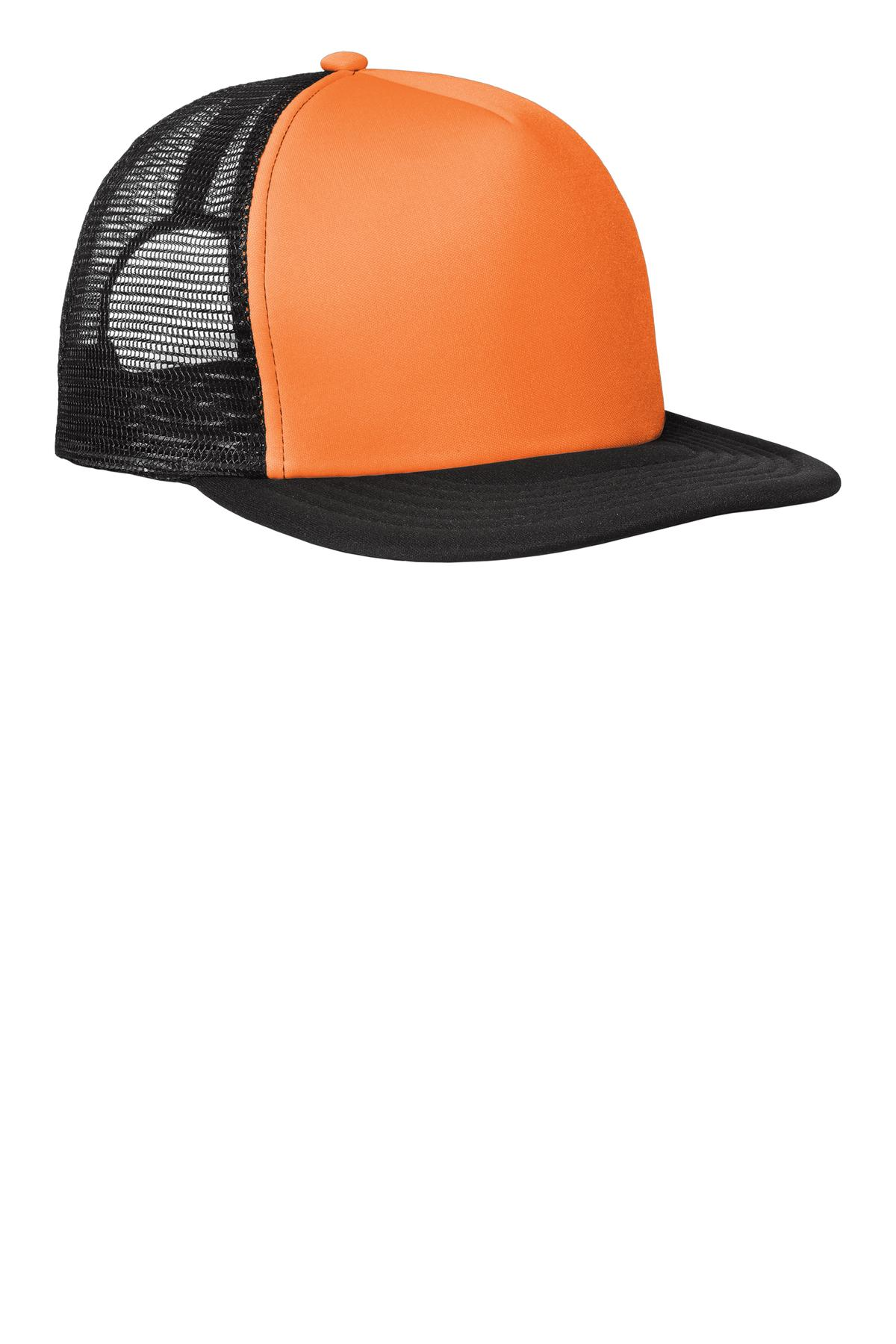 District ®  Flat Bill Snapback Trucker Cap. DT624 - Neon Orange
