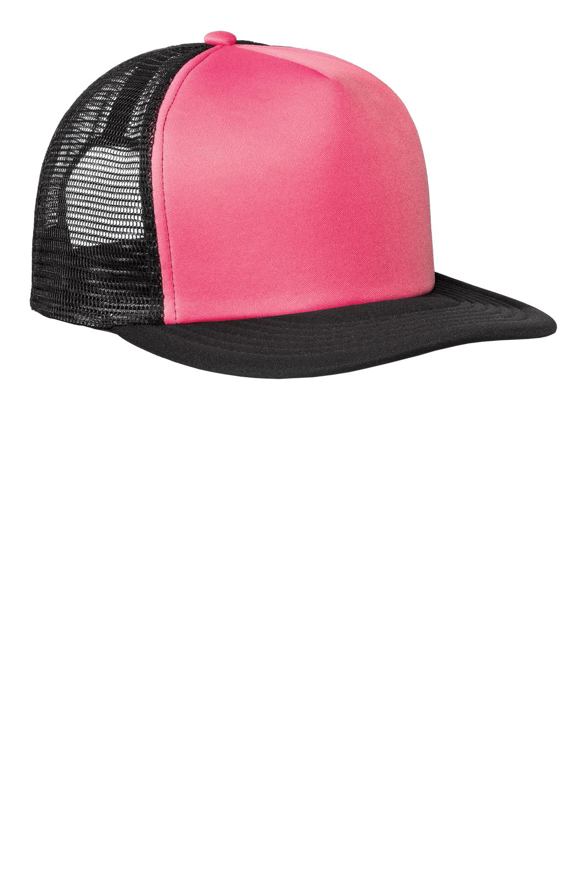 District ®  Flat Bill Snapback Trucker Cap. DT624 - Neon Pink
