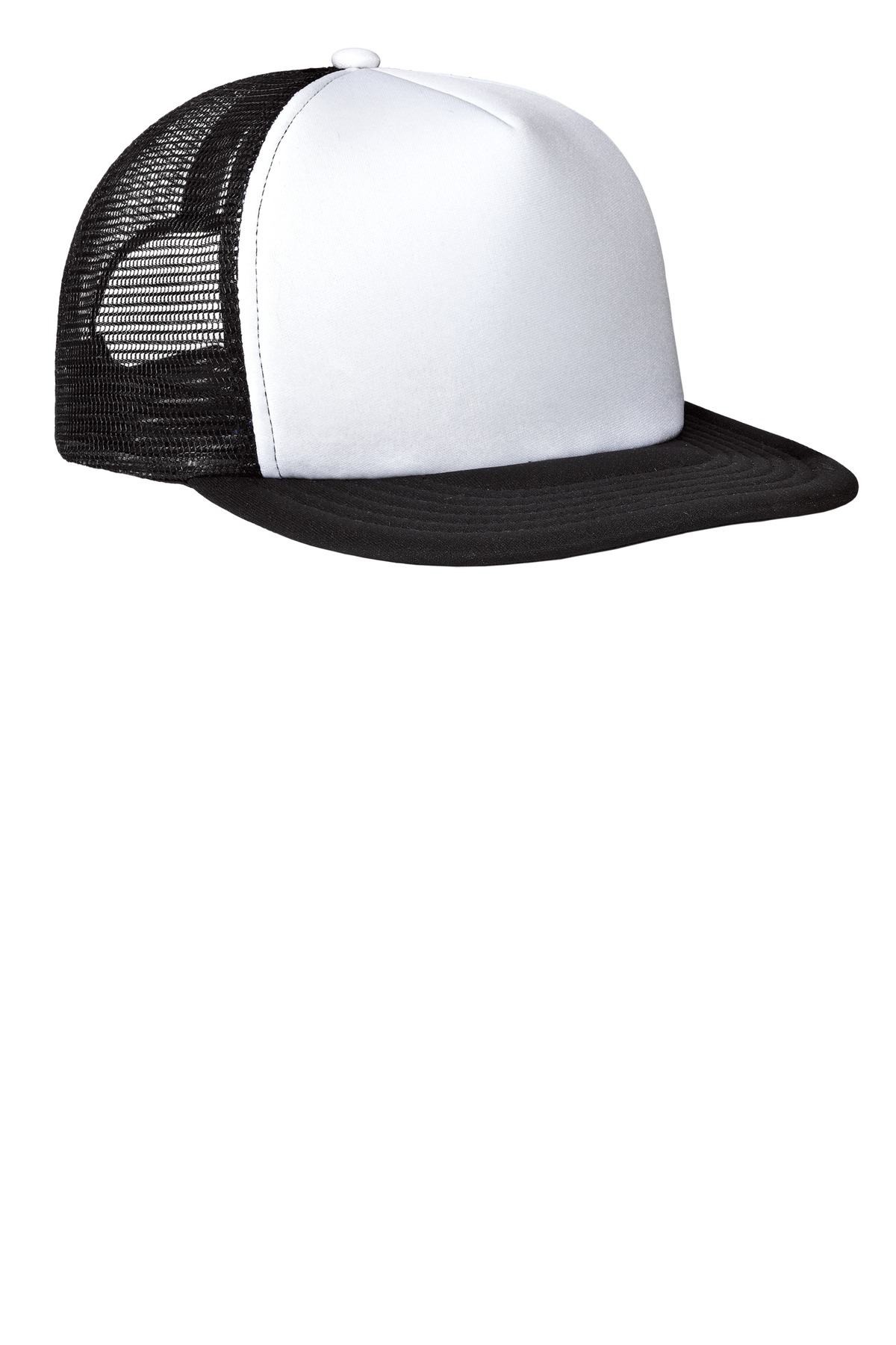 District ®  Flat Bill Snapback Trucker Cap. DT624 - White