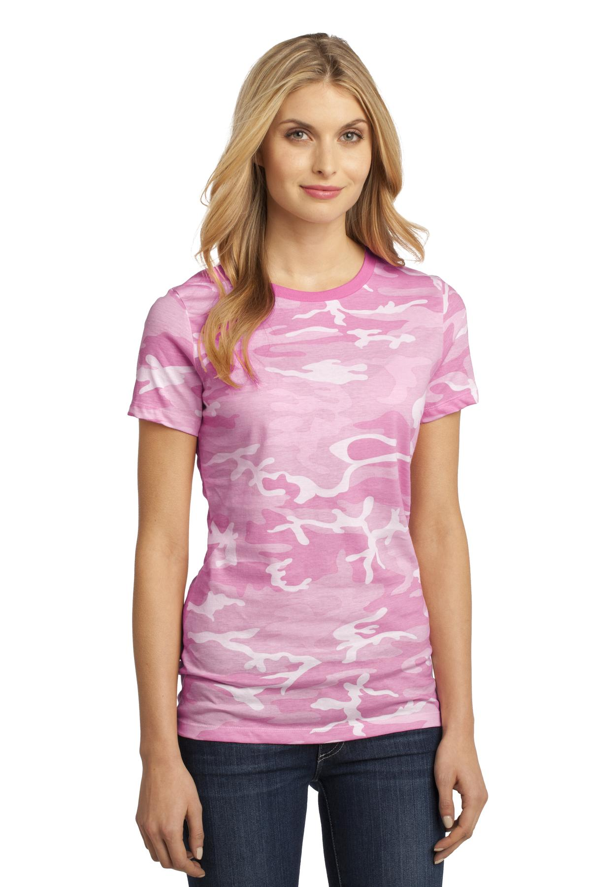 CLOSEOUT District - Ladies Perfect Weight Camo Crew Tee DM104CL