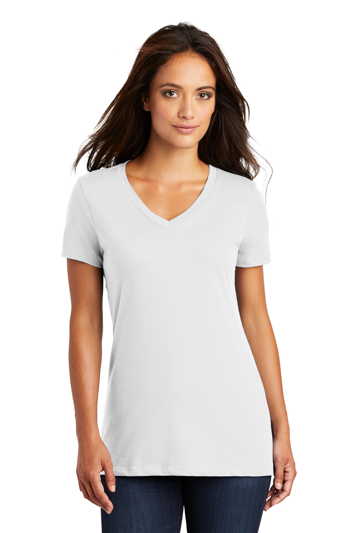 District ®  - Women's Perfect Weight ®  V-Neck Tee. DM1170L - Bright White