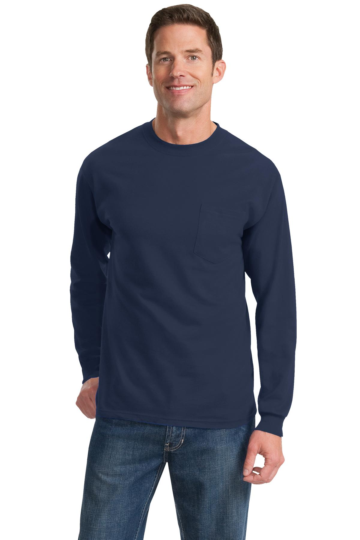 Port & Company ®  - Long Sleeve Essential Pocket Tee.  PC61LSP - Navy