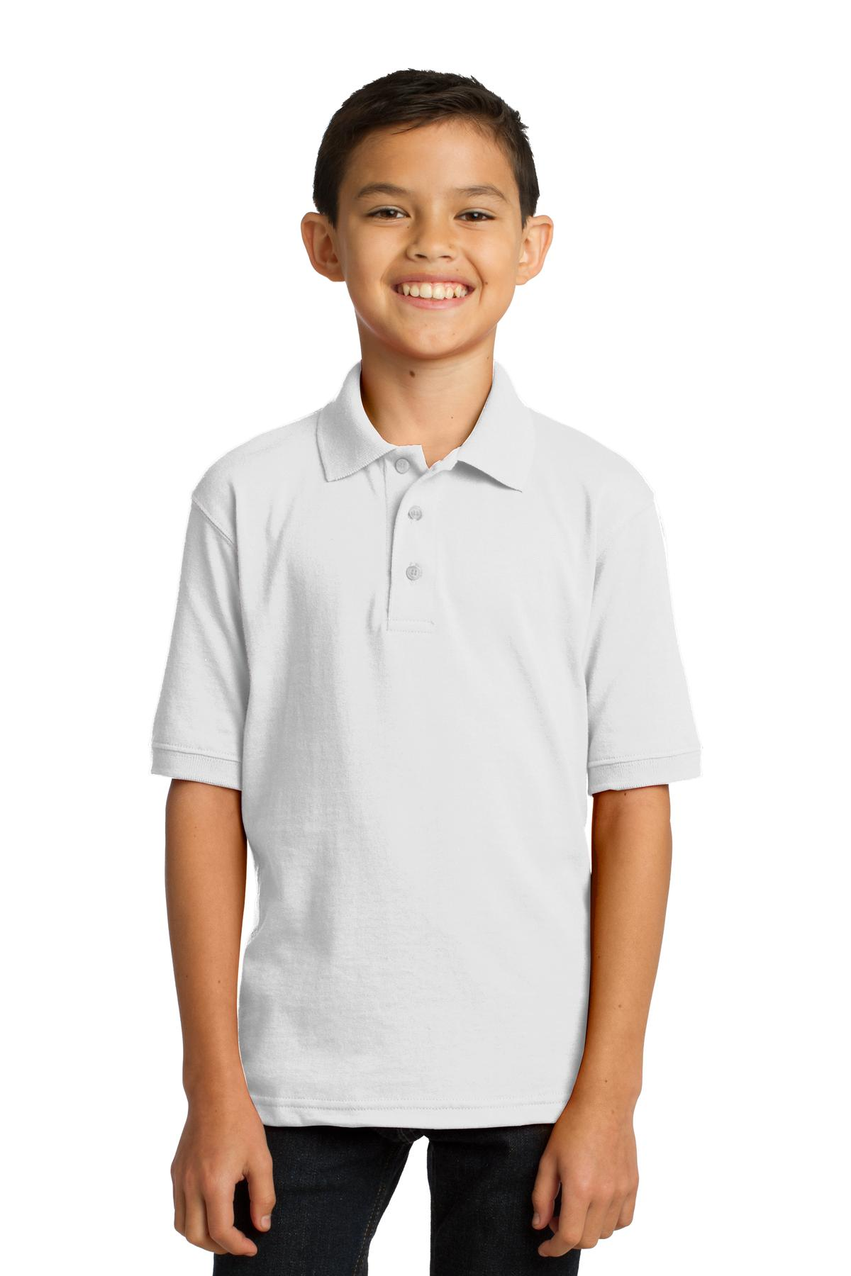 Port & Company ®  Youth Core Blend Jersey Knit Polo. KP55Y - White