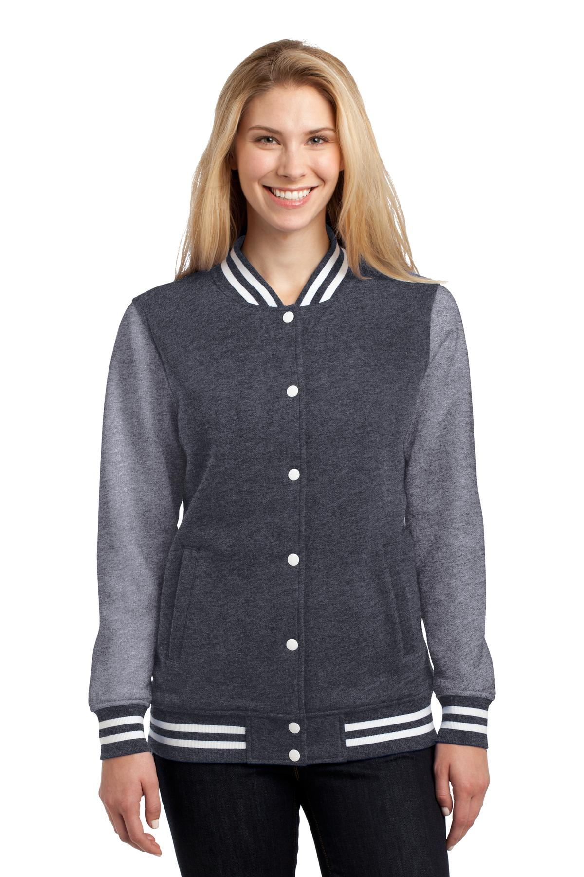 Sport-Tek ®  Ladies Fleece Letterman Jacket. LST270 - Graphite Heather/ Vintage Heather
