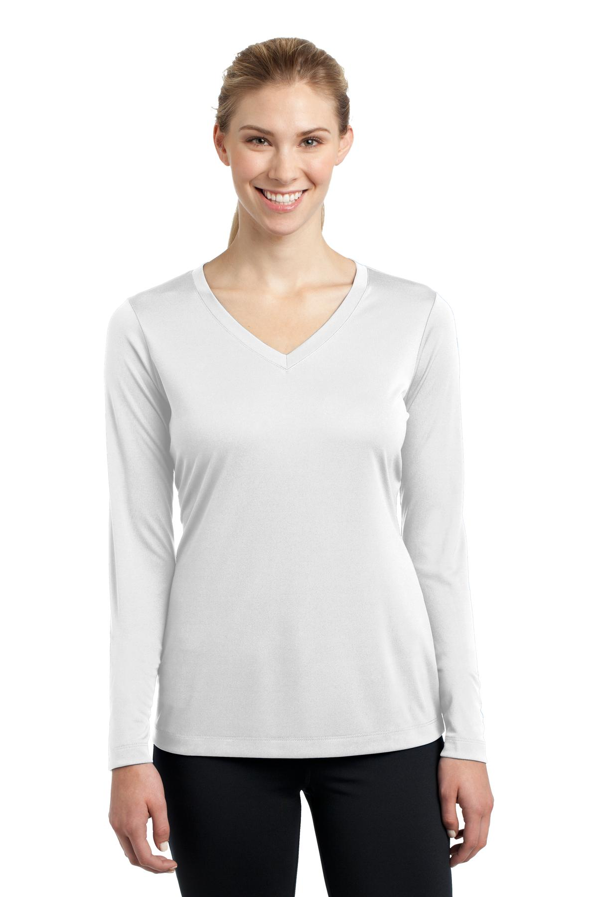 Sport-Tek ®  Ladies Long Sleeve PosiCharge ®  Competitor™ V-Neck Tee. LST353LS - White