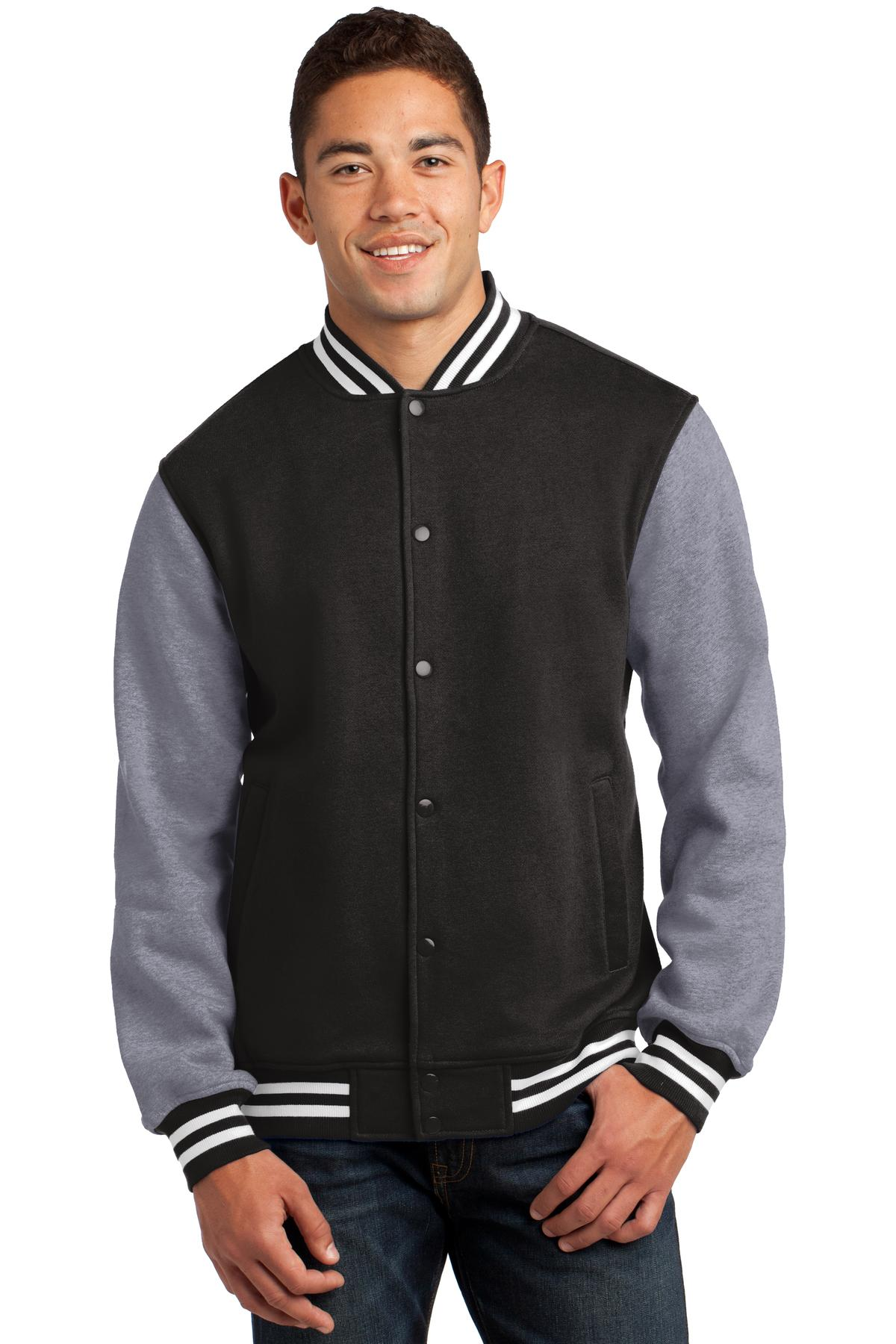 Sport-Tek ®  Fleece Letterman Jacket. ST270 - Black/ Vintage Heather
