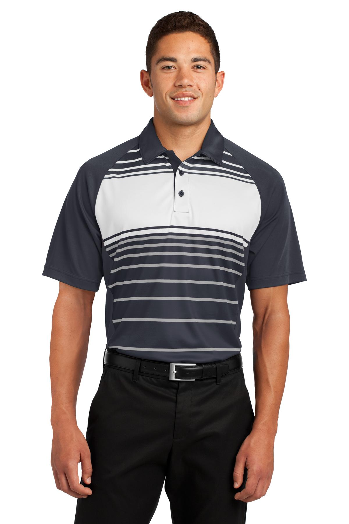 Sport-Tek ®  Dry Zone ®  Sublimated Stripe Polo. ST600 - Black