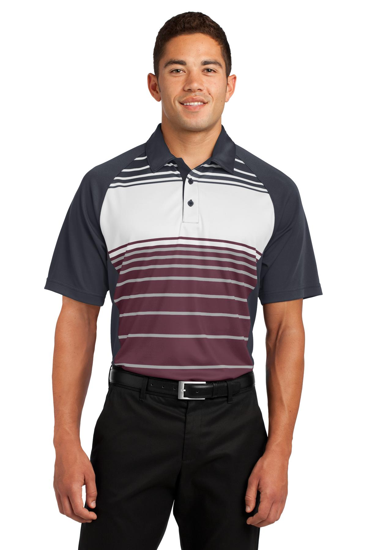 Sport-Tek ®  Dry Zone ®  Sublimated Stripe Polo. ST600 - Maroon