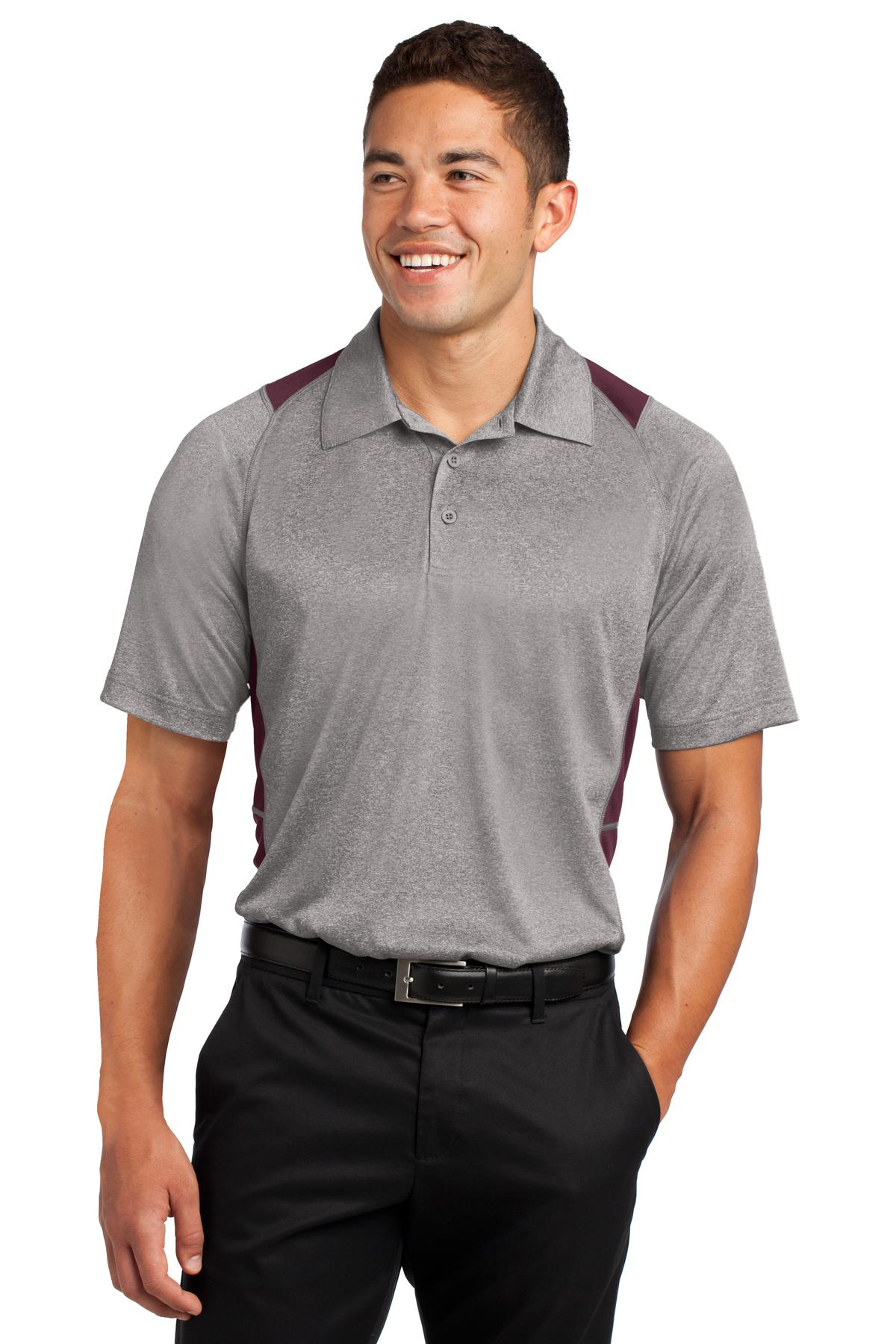 Sport-Tek ®  Heather Colorblock Contender ™  Polo. ST665 - Vintage Heather/ Maroon