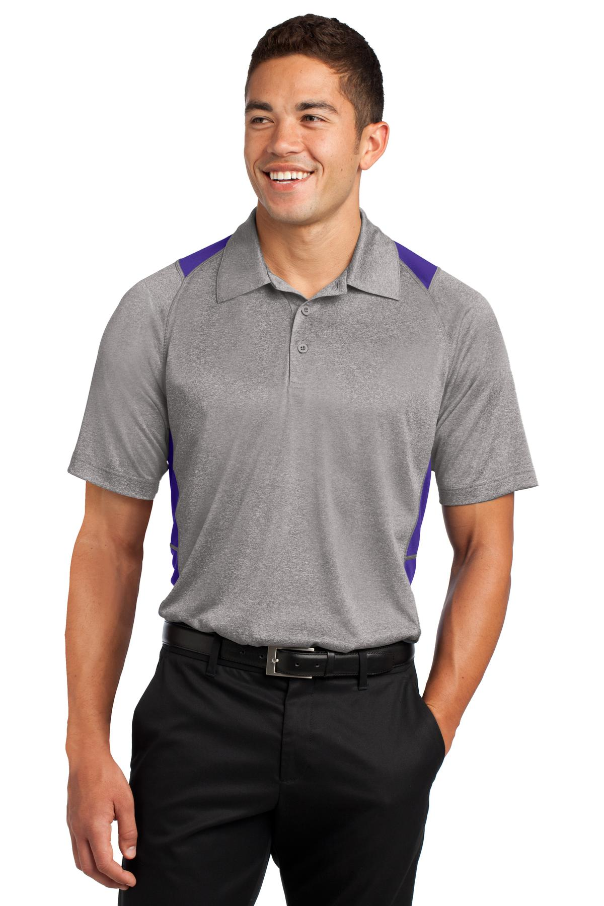 Sport-Tek ®  Heather Colorblock Contender ™  Polo. ST665 - Vintage Heather/ Purple