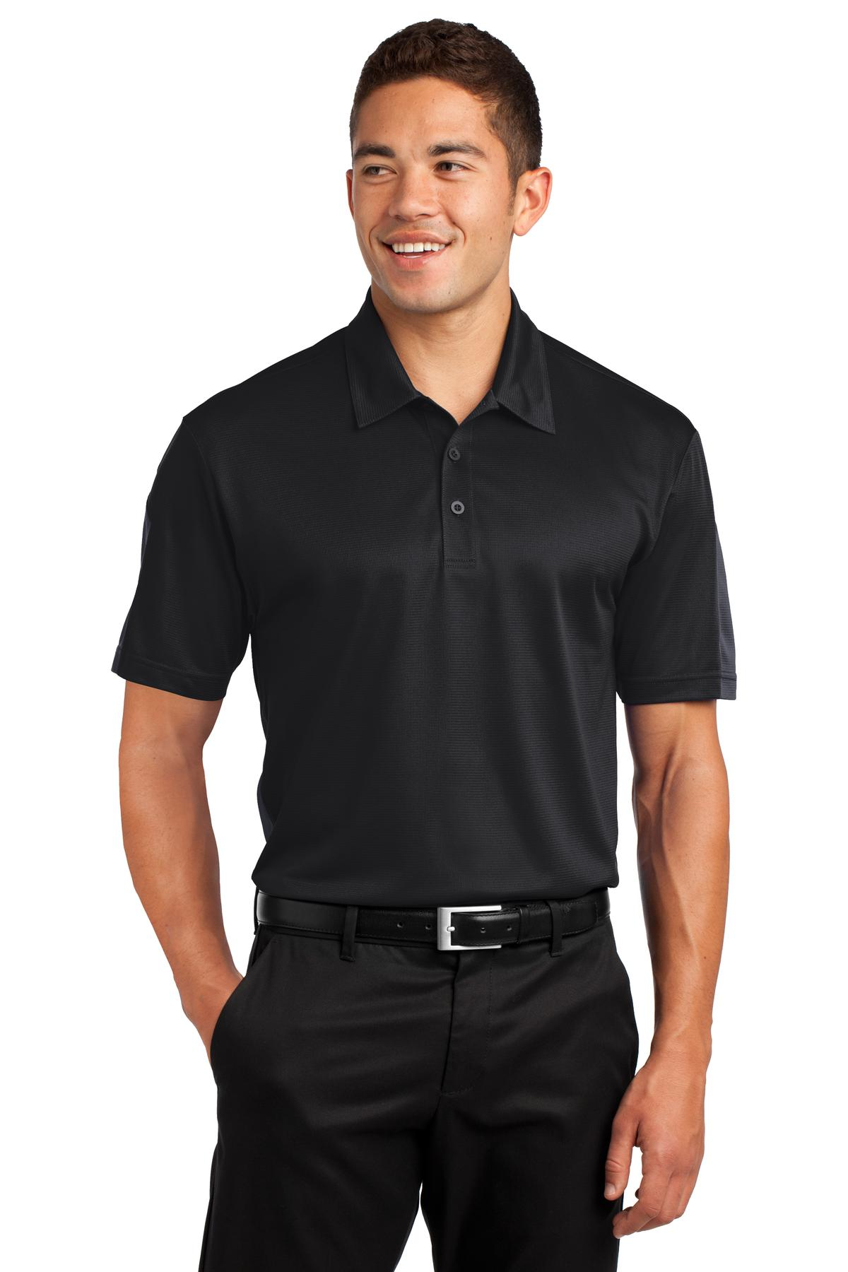 Sport-Tek ®  PosiCharge ®  Active Textured Colorblock Polo. ST695 - Black/ Grey