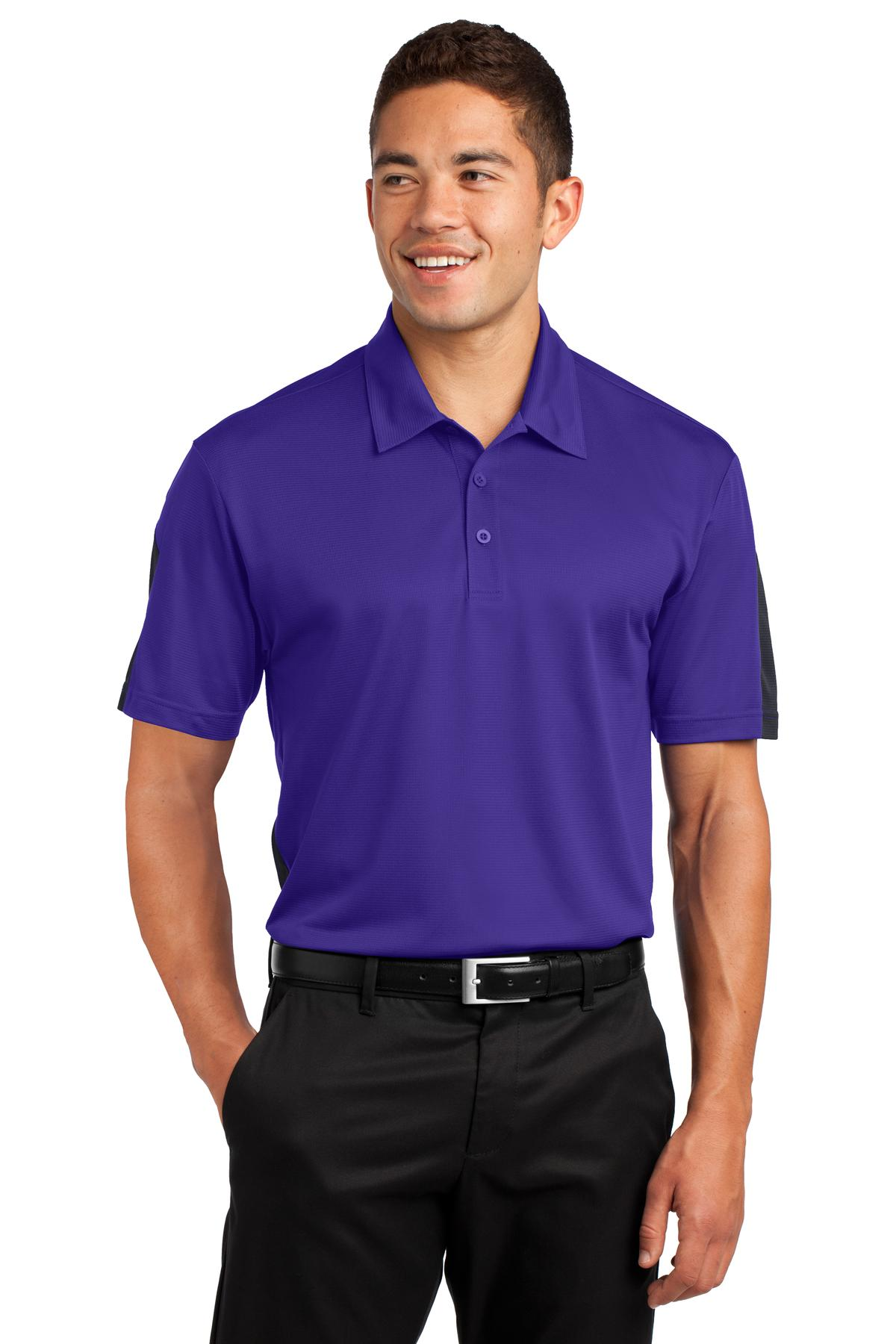 Sport-Tek ®  PosiCharge ®  Active Textured Colorblock Polo. ST695 - Purple/ Grey