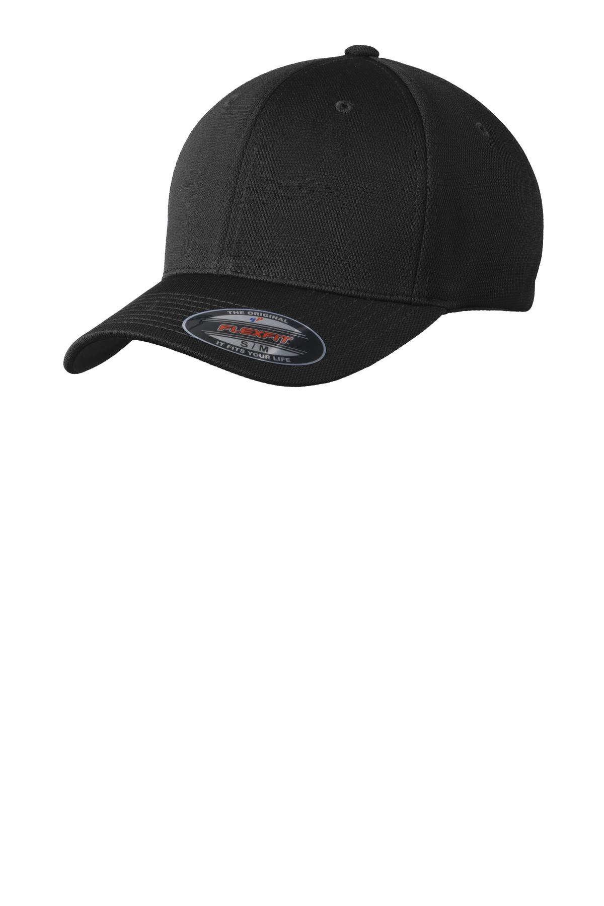 Sport-Tek ®  Flexfit ®  Cool & Dry Poly Block Mesh Cap. STC22 - Black