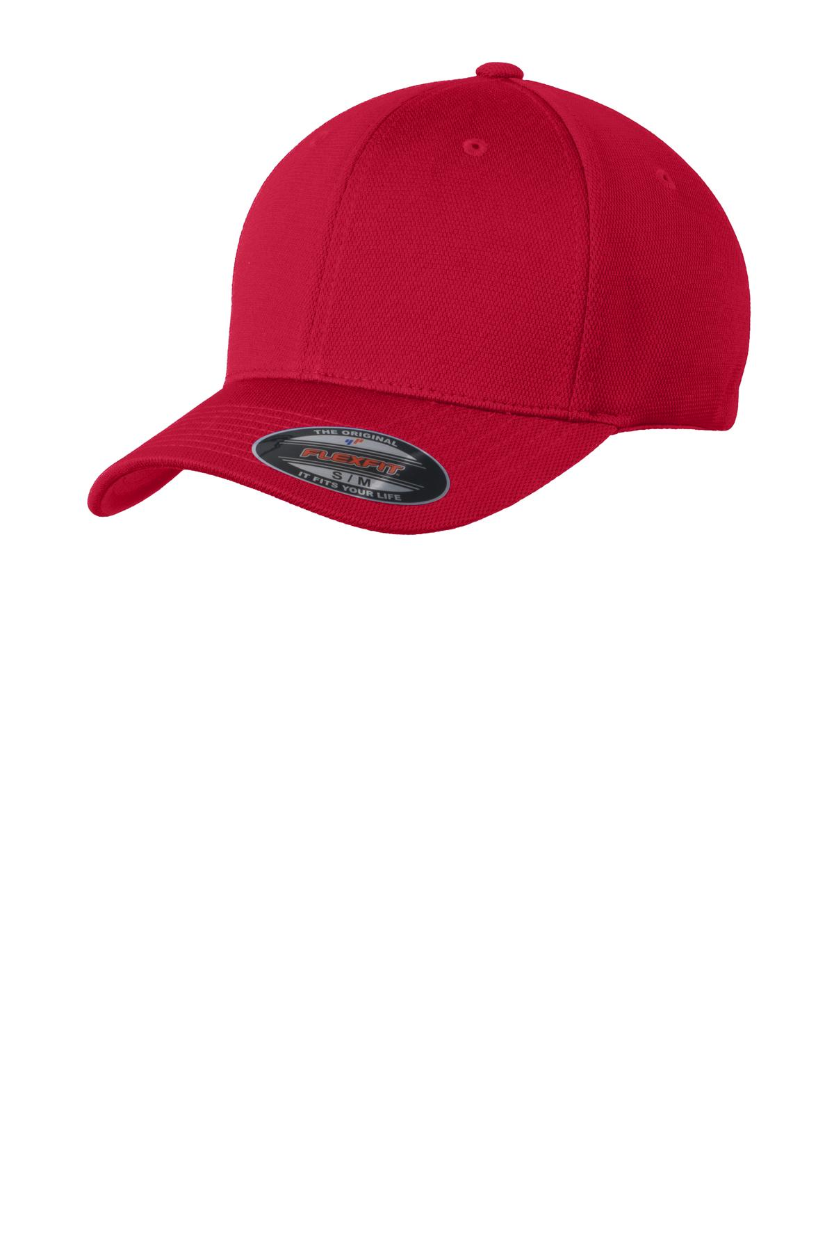 Sport-Tek ®  Flexfit ®  Cool & Dry Poly Block Mesh Cap. STC22 - True Red