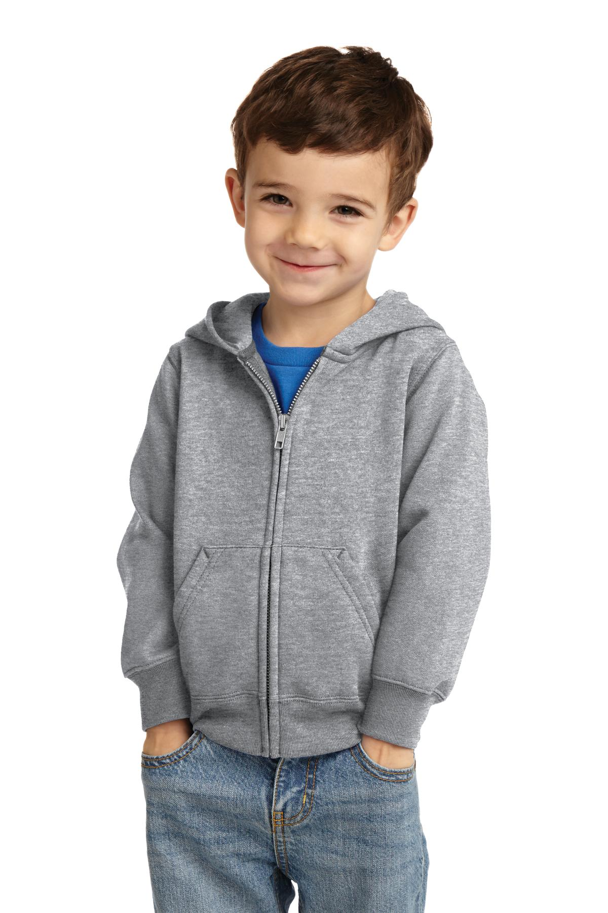 Port & Company ®  Toddler Core Fleece Full-Zip Hooded Sweatshirt. CAR78TZH - Athletic Heather