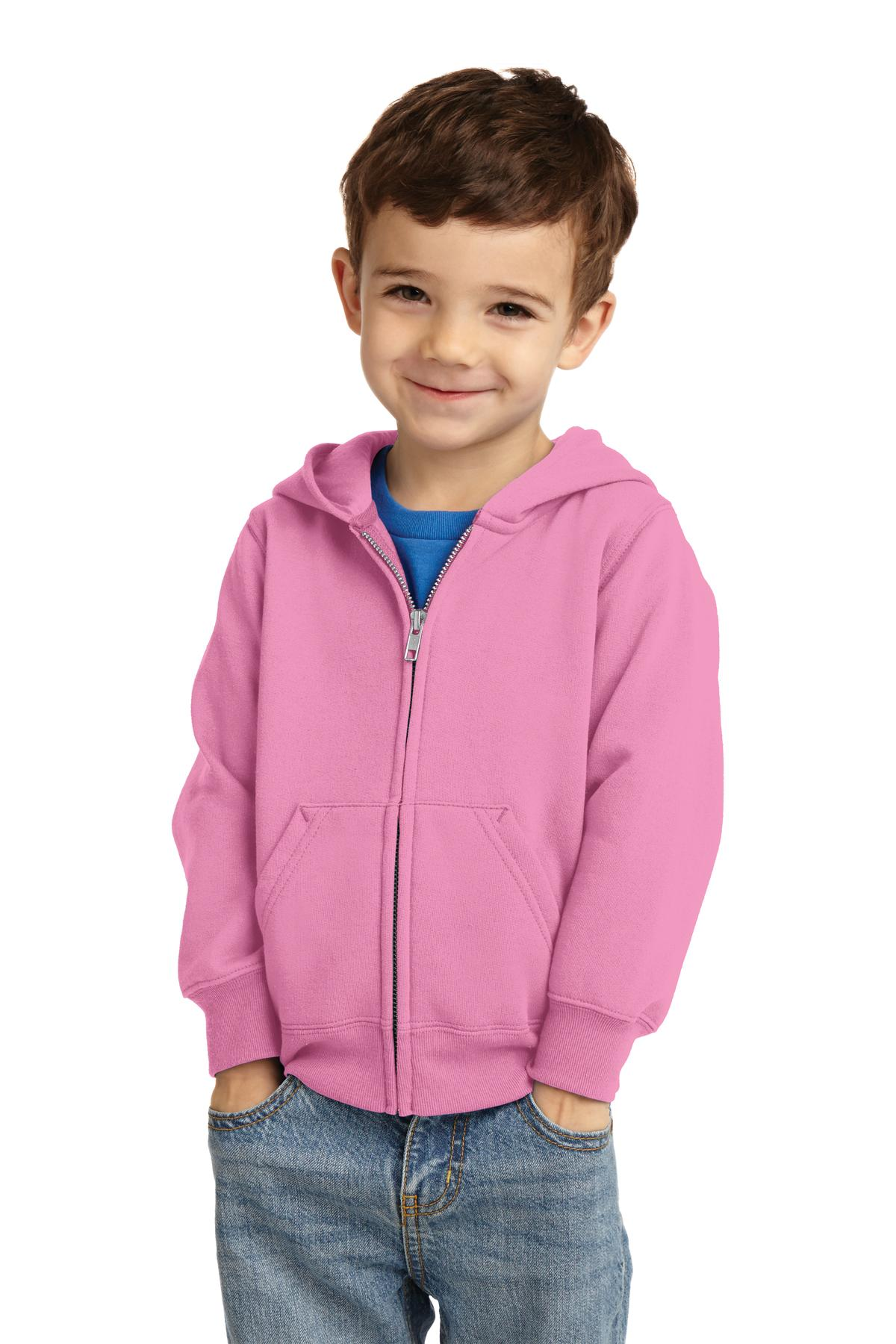 Port & Company ®  Toddler Core Fleece Full-Zip Hooded Sweatshirt. CAR78TZH - Candy Pink