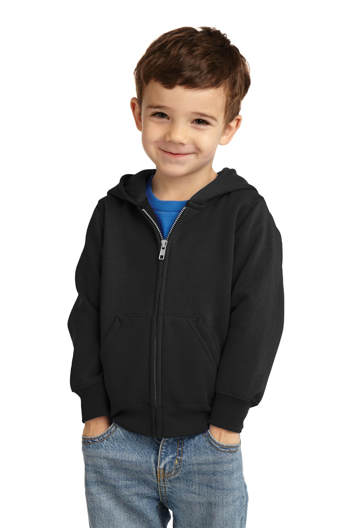 Port & Company ®  Toddler Core Fleece Full-Zip Hooded Sweatshirt. CAR78TZH - Jet Black