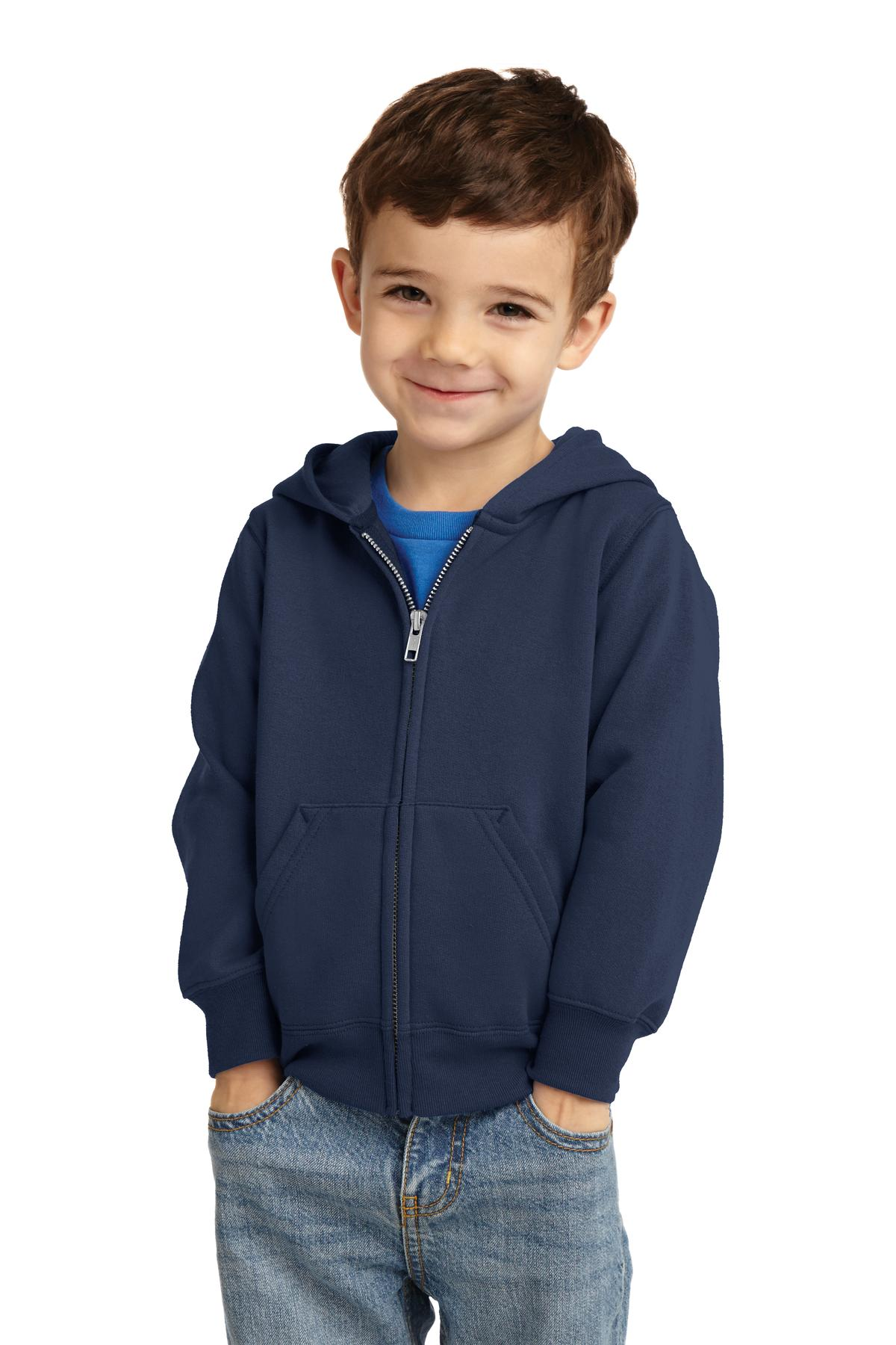 Port & Company ®  Toddler Core Fleece Full-Zip Hooded Sweatshirt. CAR78TZH - Navy