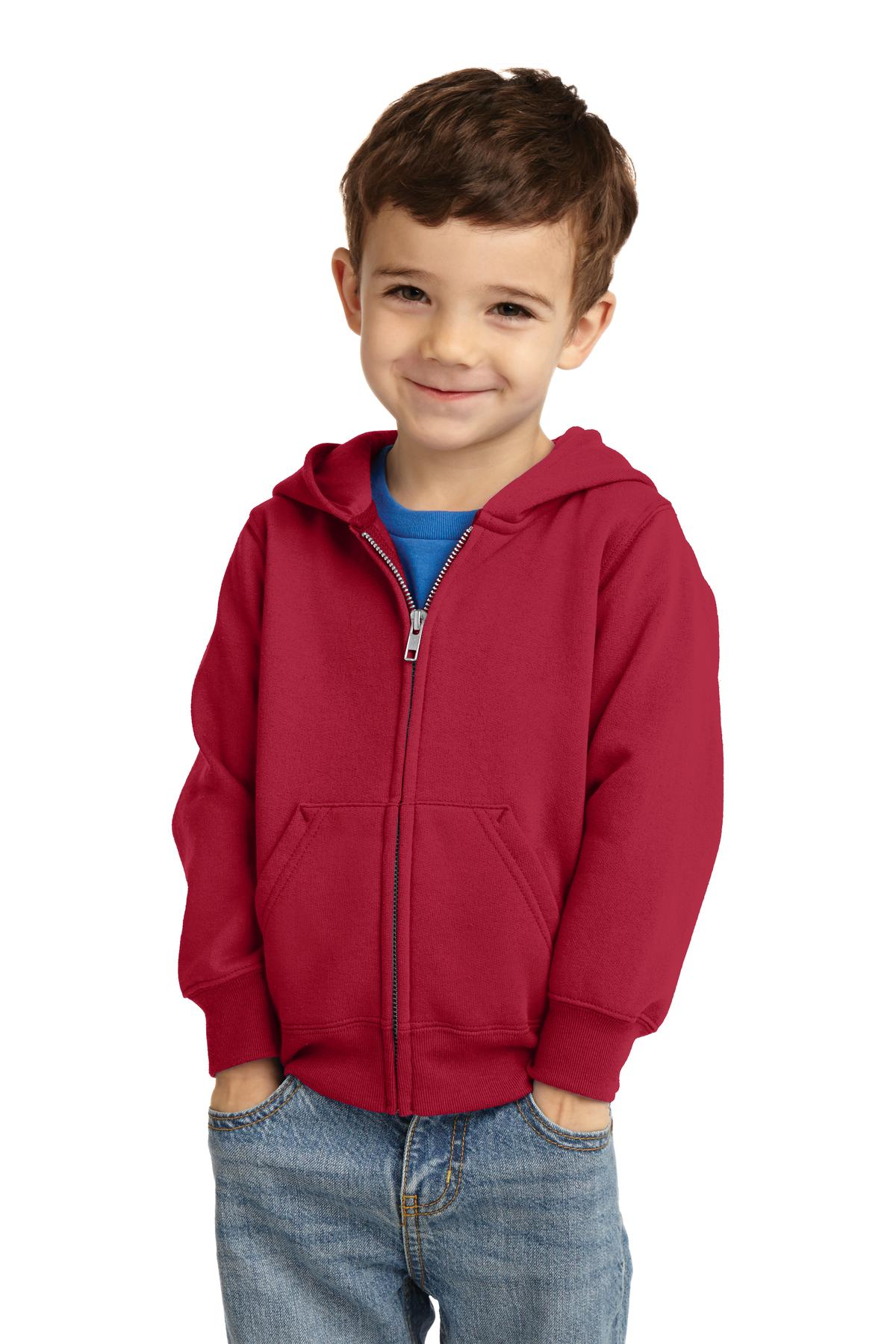 Port & Company ®  Toddler Core Fleece Full-Zip Hooded Sweatshirt. CAR78TZH - Red