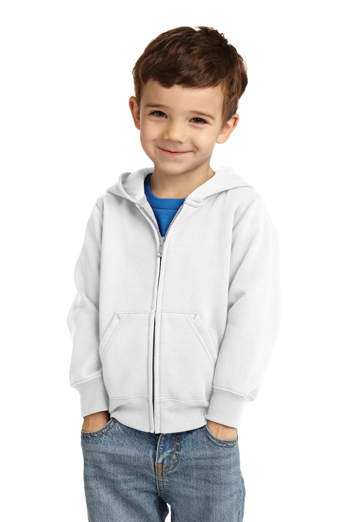 Port & Company ®  Toddler Core Fleece Full-Zip Hooded Sweatshirt. CAR78TZH - White